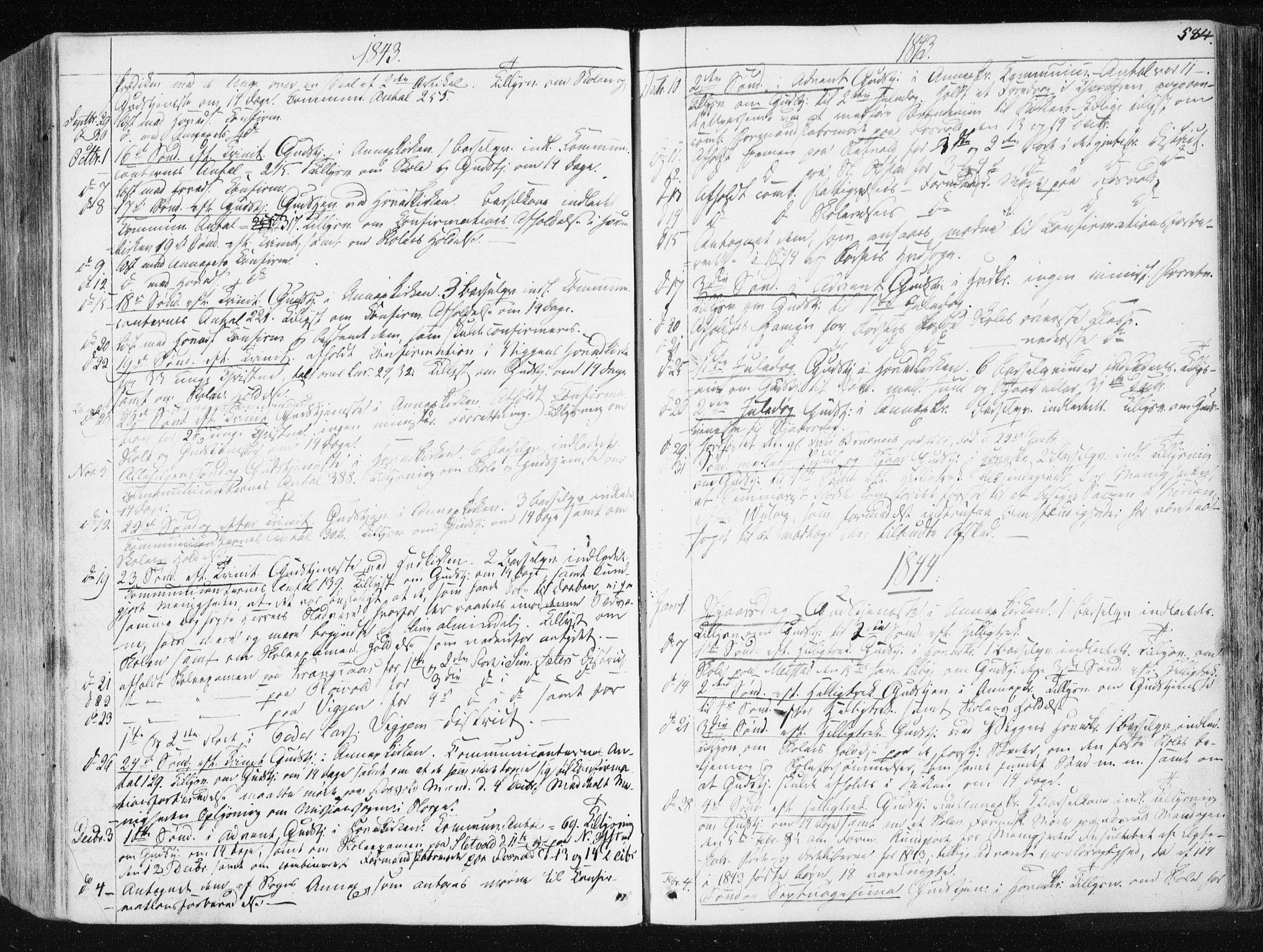 SAT, Ministerialprotokoller, klokkerbøker og fødselsregistre - Sør-Trøndelag, 665/L0771: Ministerialbok nr. 665A06, 1830-1856, s. 584
