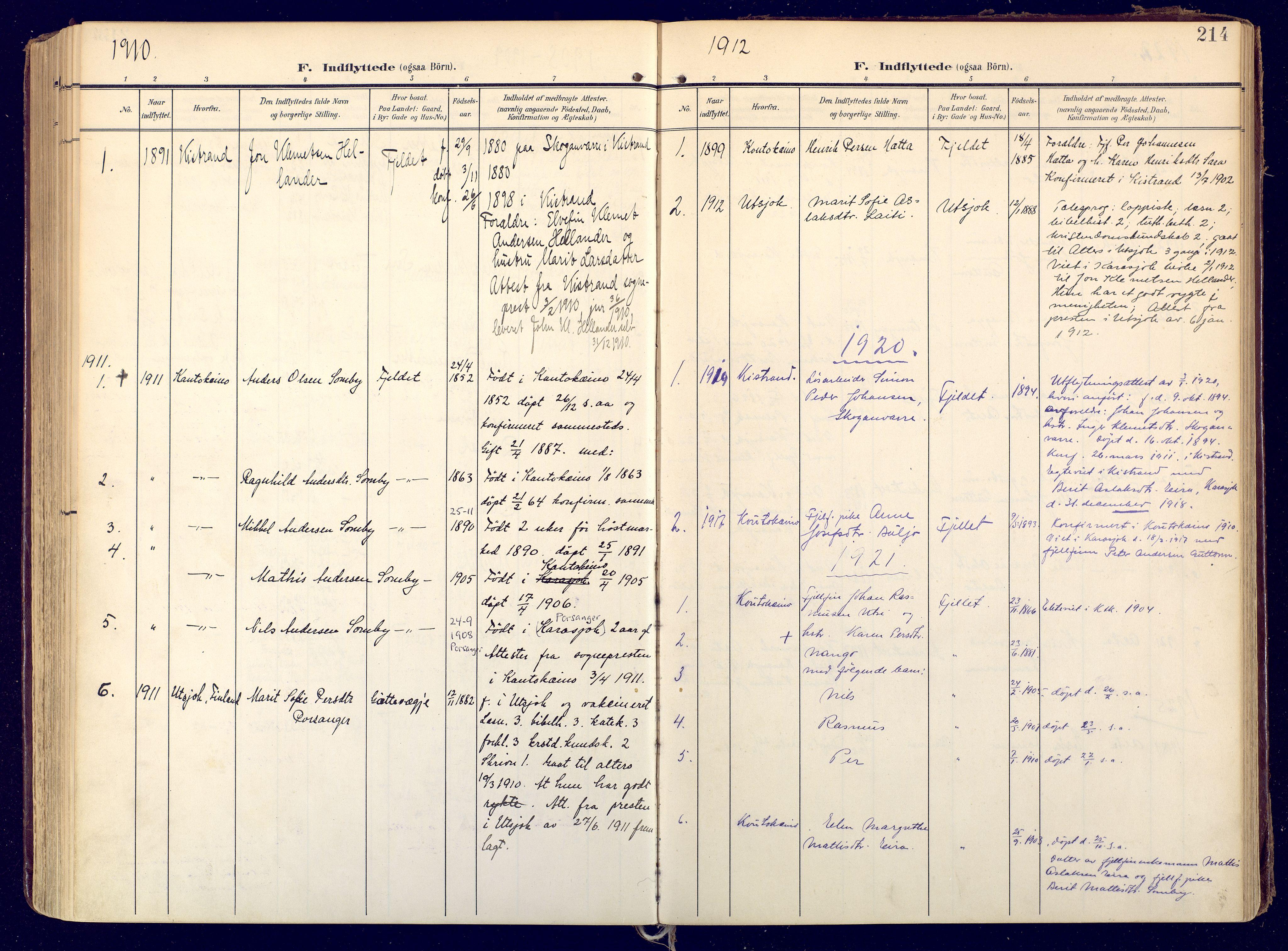 SATØ, Karasjok sokneprestkontor, H/Ha: Ministerialbok nr. 3, 1907-1926, s. 214