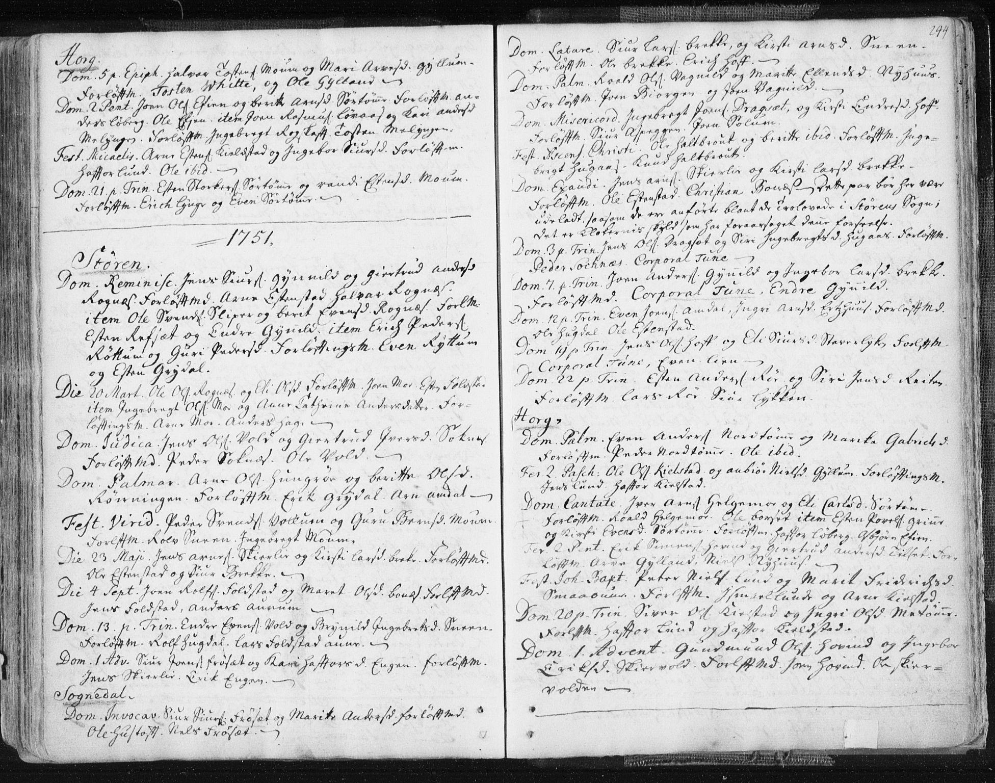 SAT, Ministerialprotokoller, klokkerbøker og fødselsregistre - Sør-Trøndelag, 687/L0991: Ministerialbok nr. 687A02, 1747-1790, s. 244