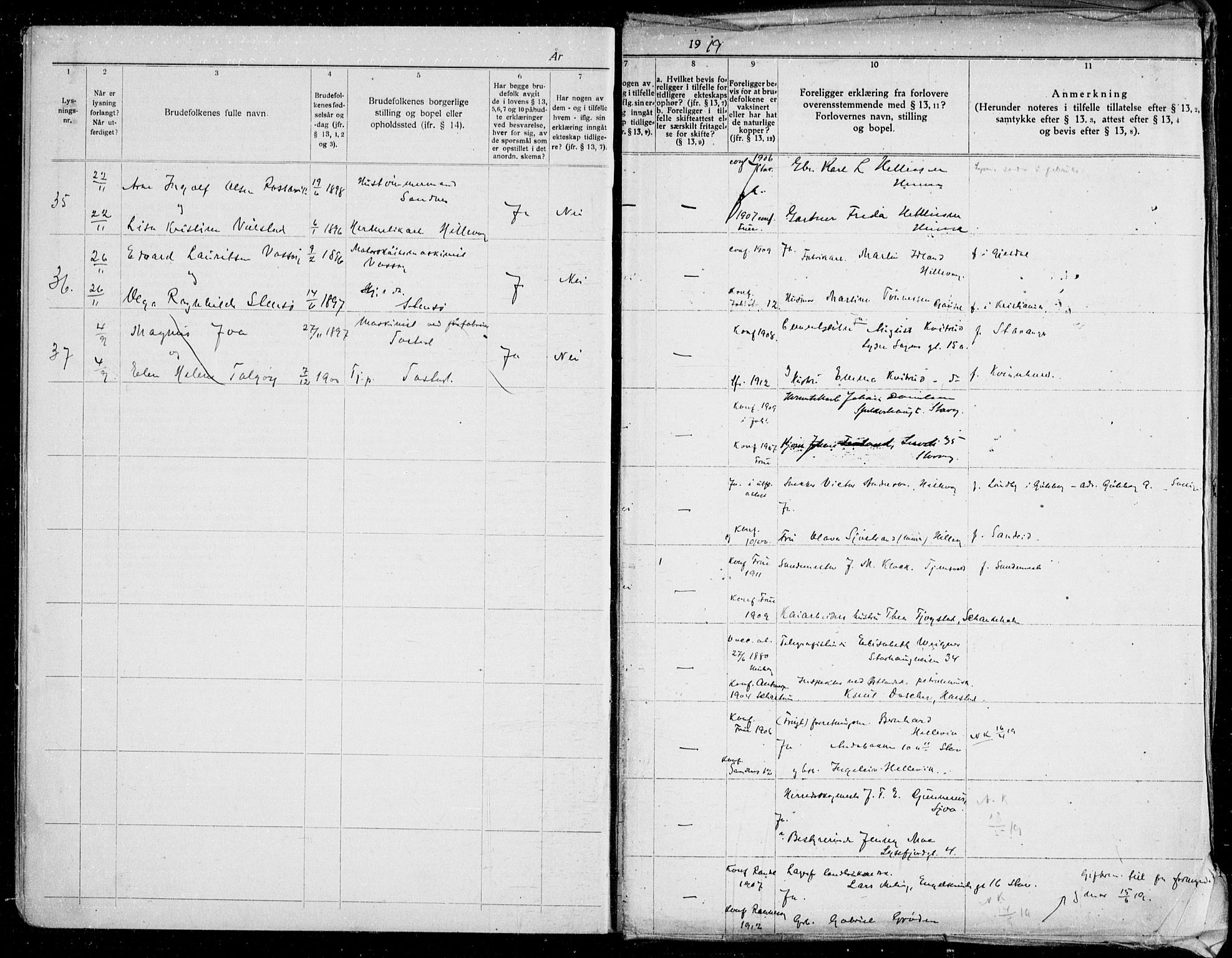 SAST, Hetland sokneprestkontor, 70/705BA/L0006: Lysningsprotokoll nr. 705.BA.6, 1919-1939