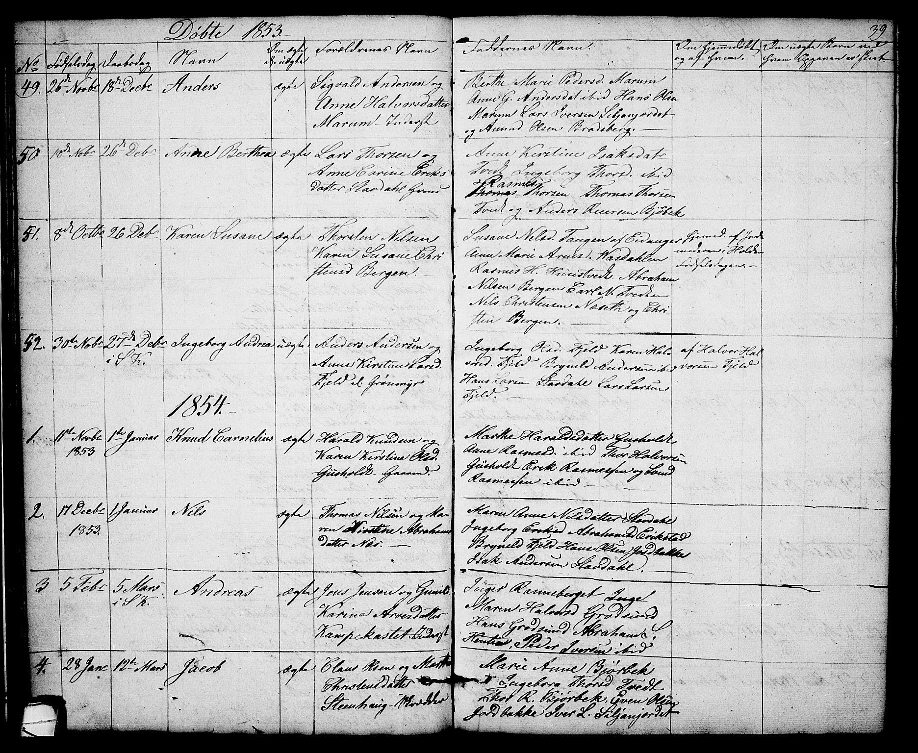 SAKO, Solum kirkebøker, G/Gb/L0001: Klokkerbok nr. II 1, 1848-1859, s. 39