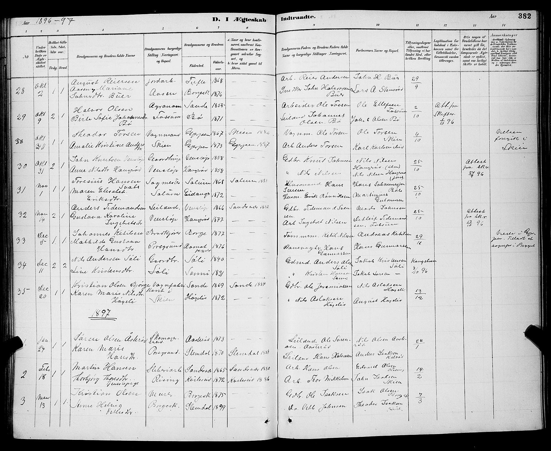 SAKO, Gjerpen kirkebøker, G/Ga/L0002: Klokkerbok nr. I 2, 1883-1900, s. 382