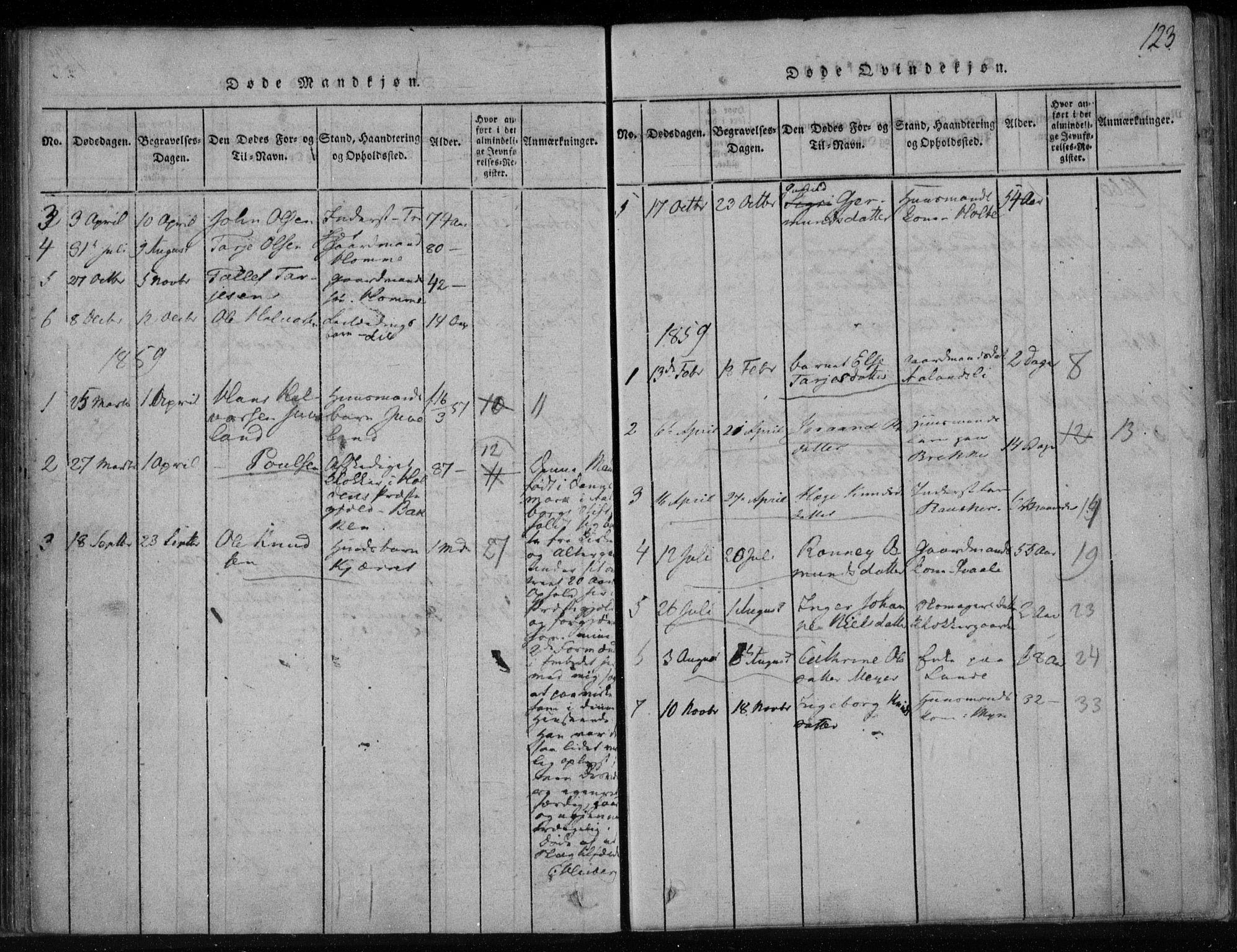SAKO, Lårdal kirkebøker, F/Fa/L0005: Ministerialbok nr. I 5, 1815-1860, s. 123