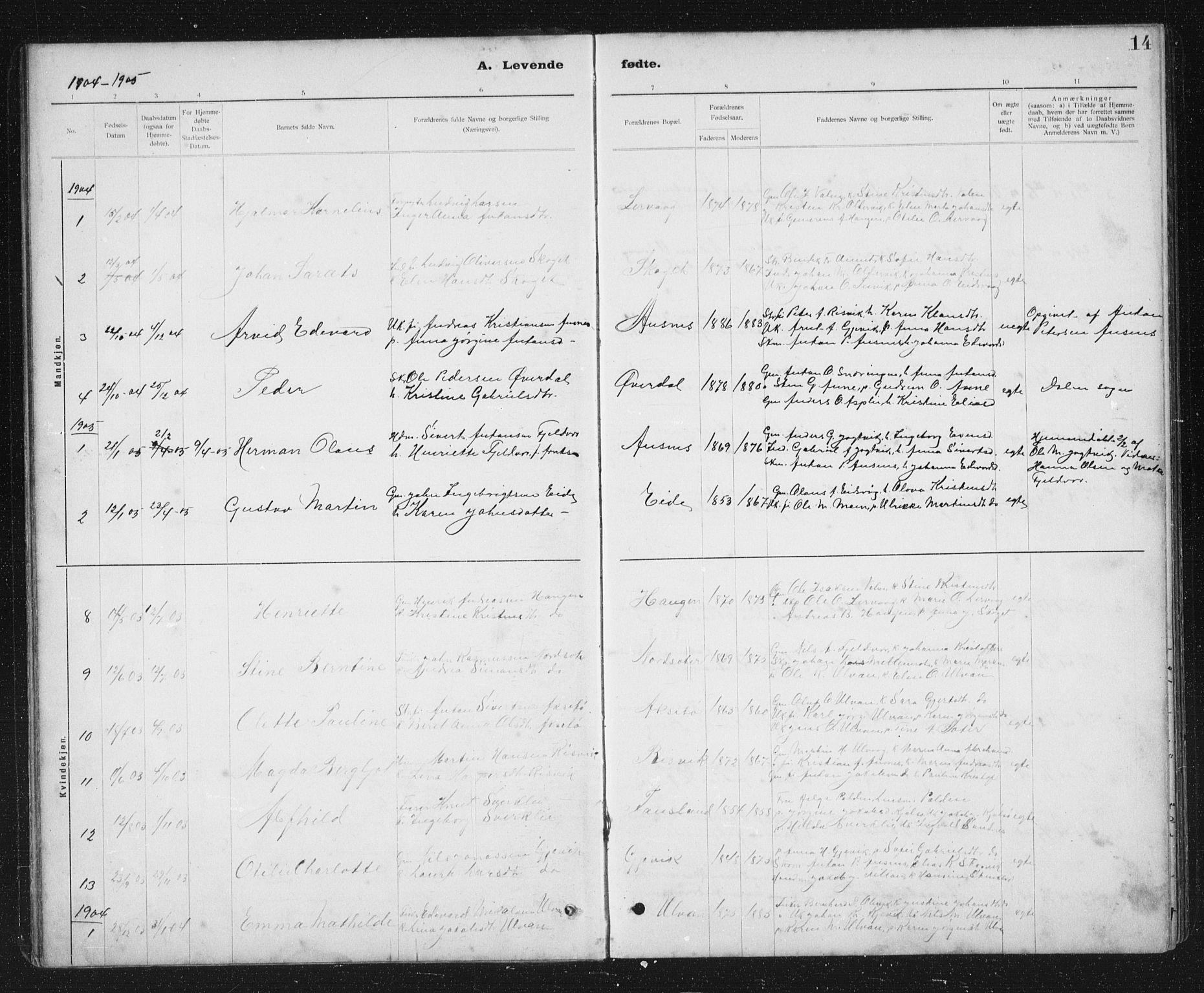 SAT, Ministerialprotokoller, klokkerbøker og fødselsregistre - Sør-Trøndelag, 637/L0563: Klokkerbok nr. 637C04, 1899-1940, s. 14