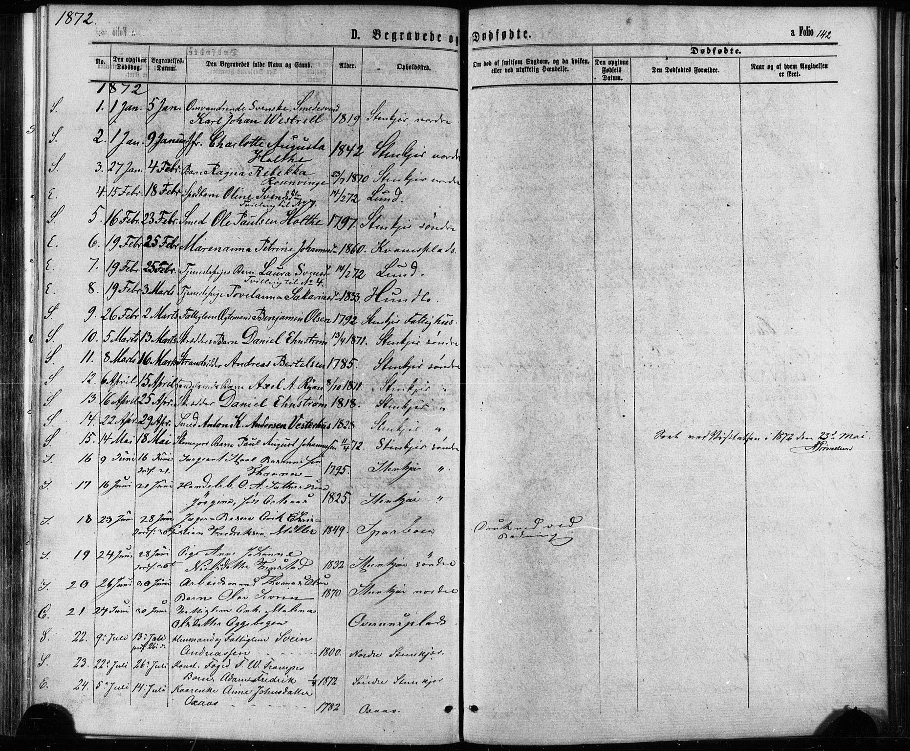 SAT, Ministerialprotokoller, klokkerbøker og fødselsregistre - Nord-Trøndelag, 739/L0370: Ministerialbok nr. 739A02, 1868-1881, s. 142