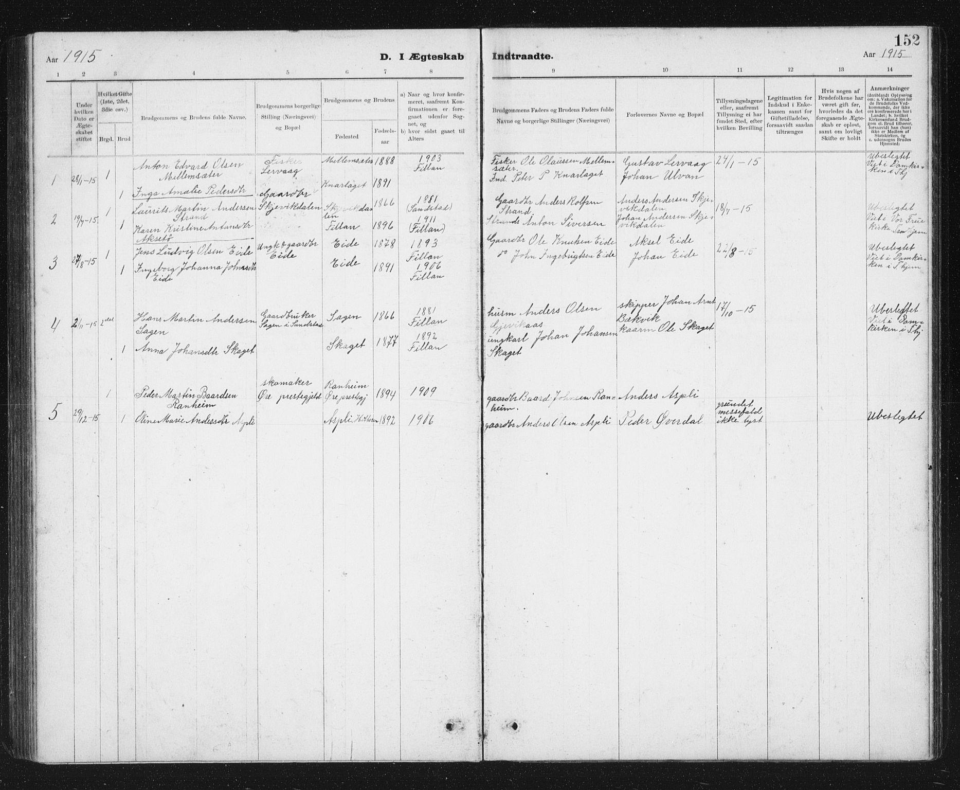 SAT, Ministerialprotokoller, klokkerbøker og fødselsregistre - Sør-Trøndelag, 637/L0563: Klokkerbok nr. 637C04, 1899-1940, s. 152
