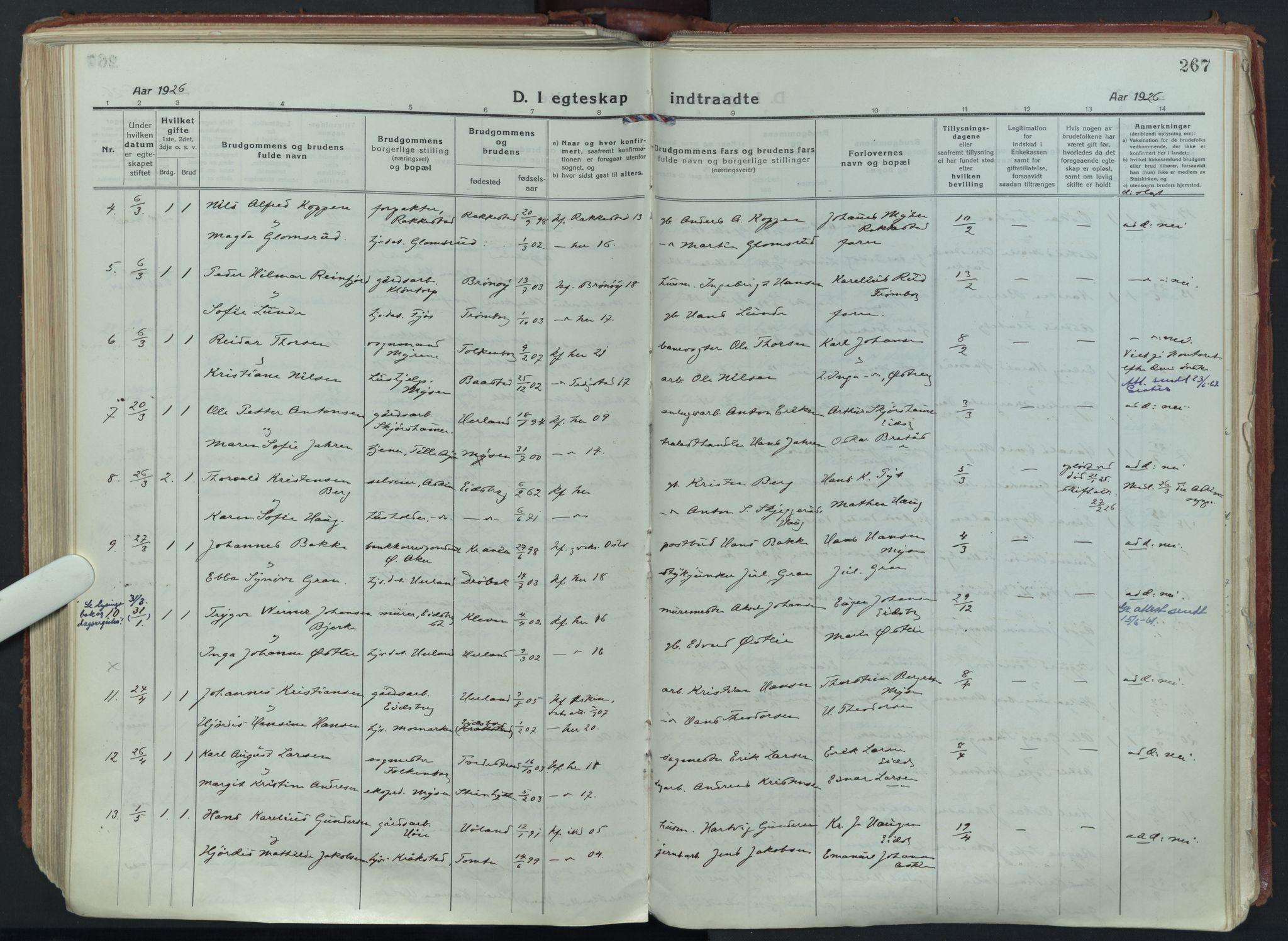 SAO, Eidsberg prestekontor Kirkebøker, F/Fa/L0015: Ministerialbok nr. I 15, 1920-1937, s. 267