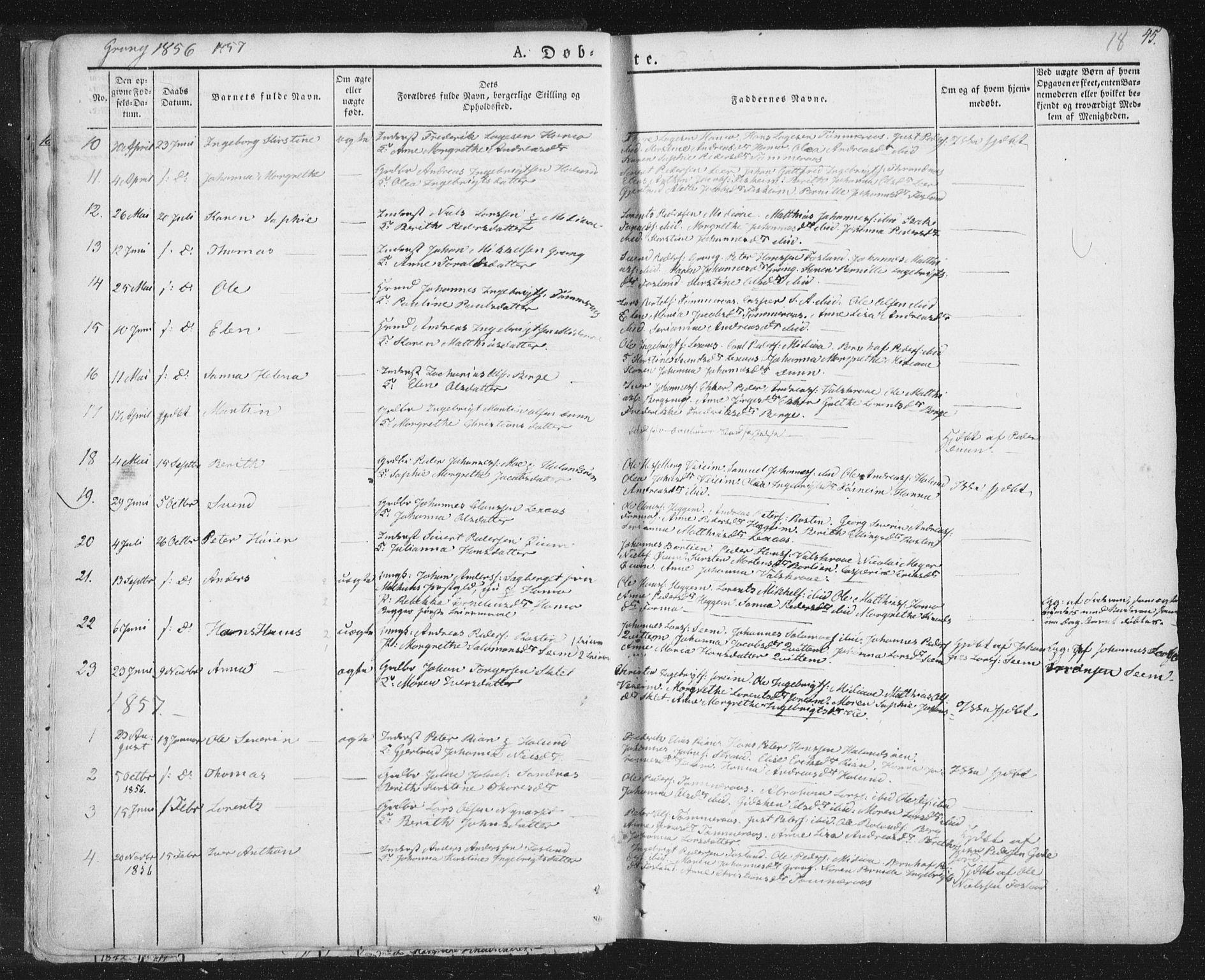 SAT, Ministerialprotokoller, klokkerbøker og fødselsregistre - Nord-Trøndelag, 758/L0513: Ministerialbok nr. 758A02 /1, 1839-1868, s. 18