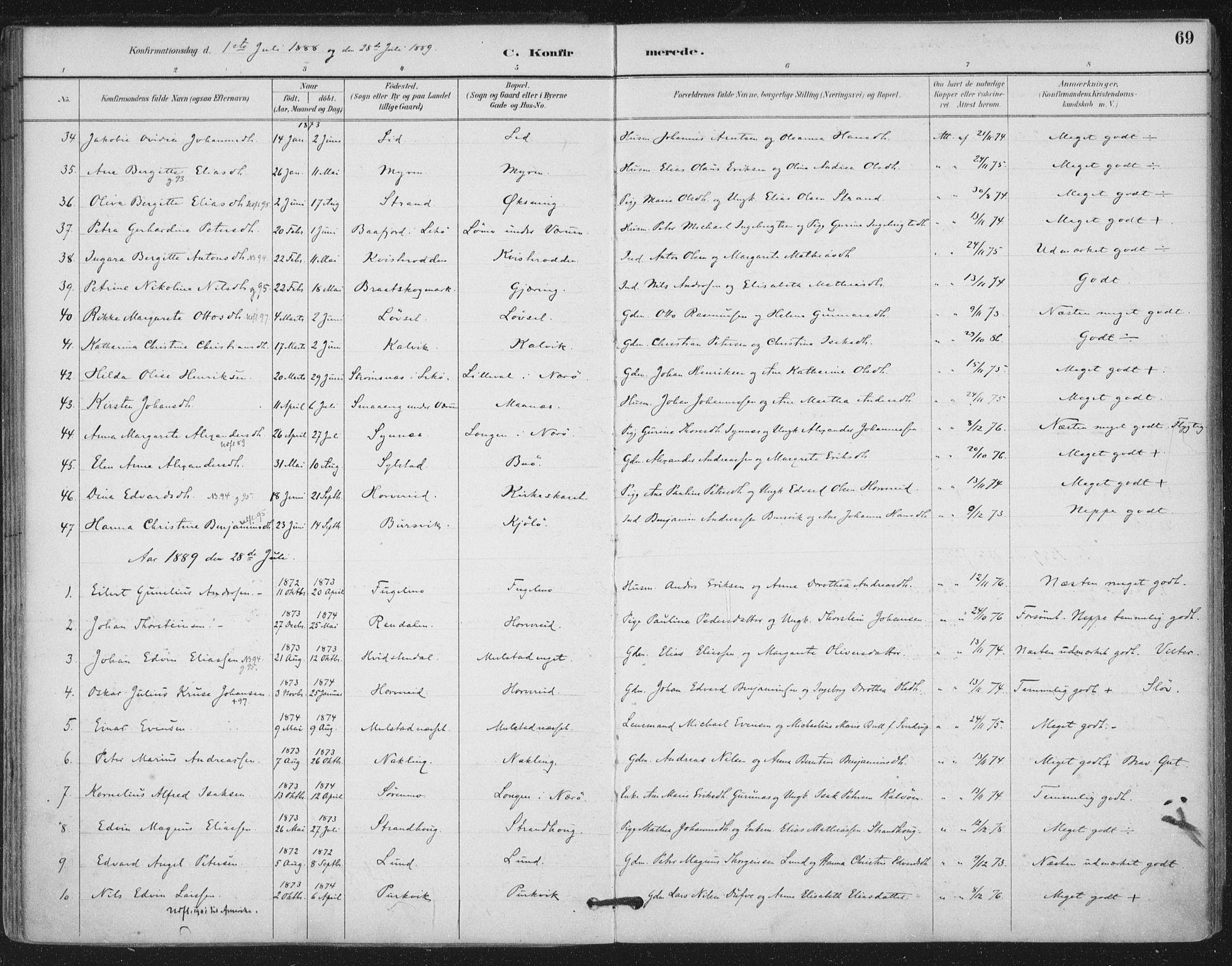 SAT, Ministerialprotokoller, klokkerbøker og fødselsregistre - Nord-Trøndelag, 780/L0644: Ministerialbok nr. 780A08, 1886-1903, s. 69