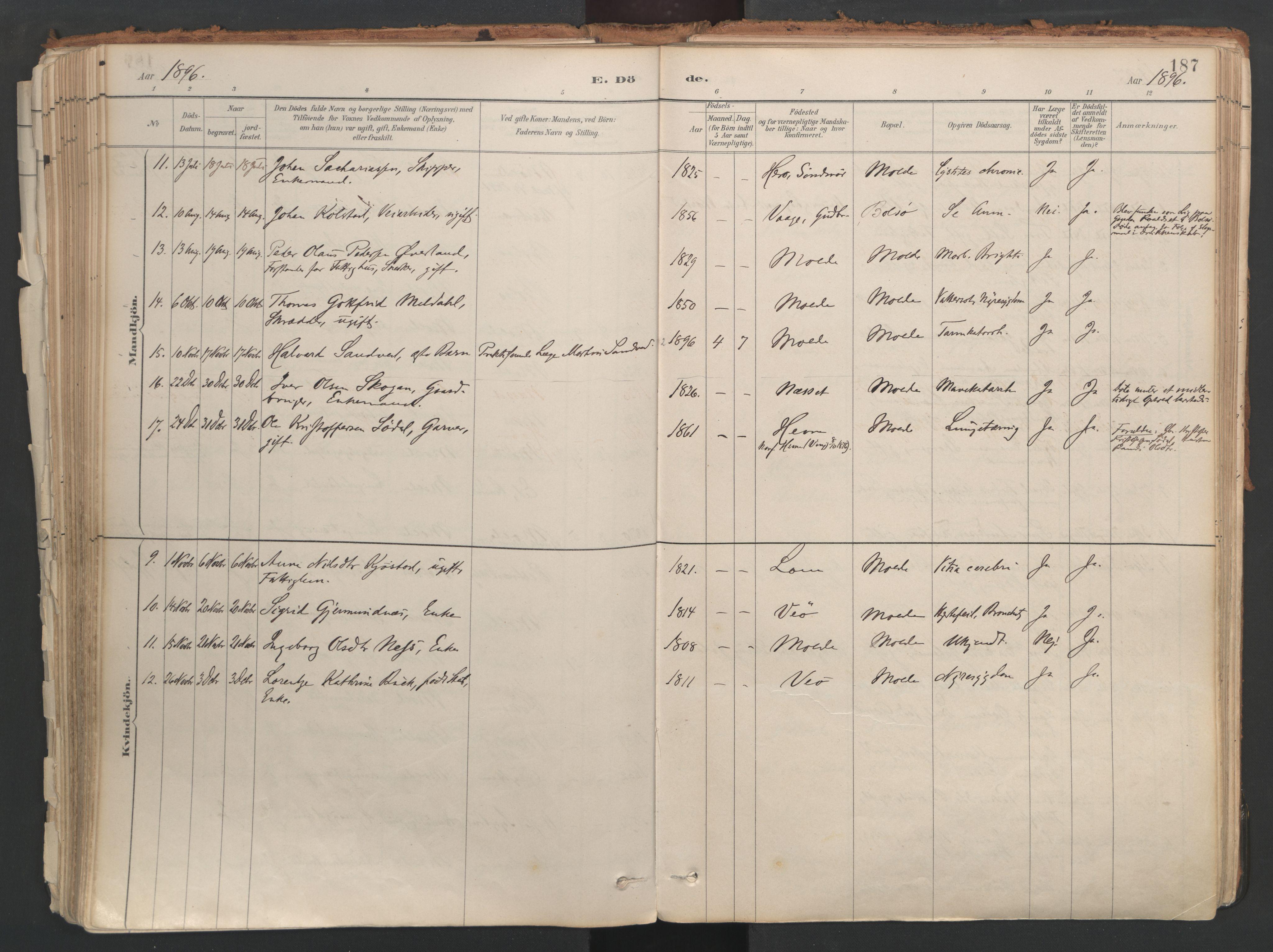 SAT, Ministerialprotokoller, klokkerbøker og fødselsregistre - Møre og Romsdal, 558/L0692: Ministerialbok nr. 558A06, 1887-1971, s. 187