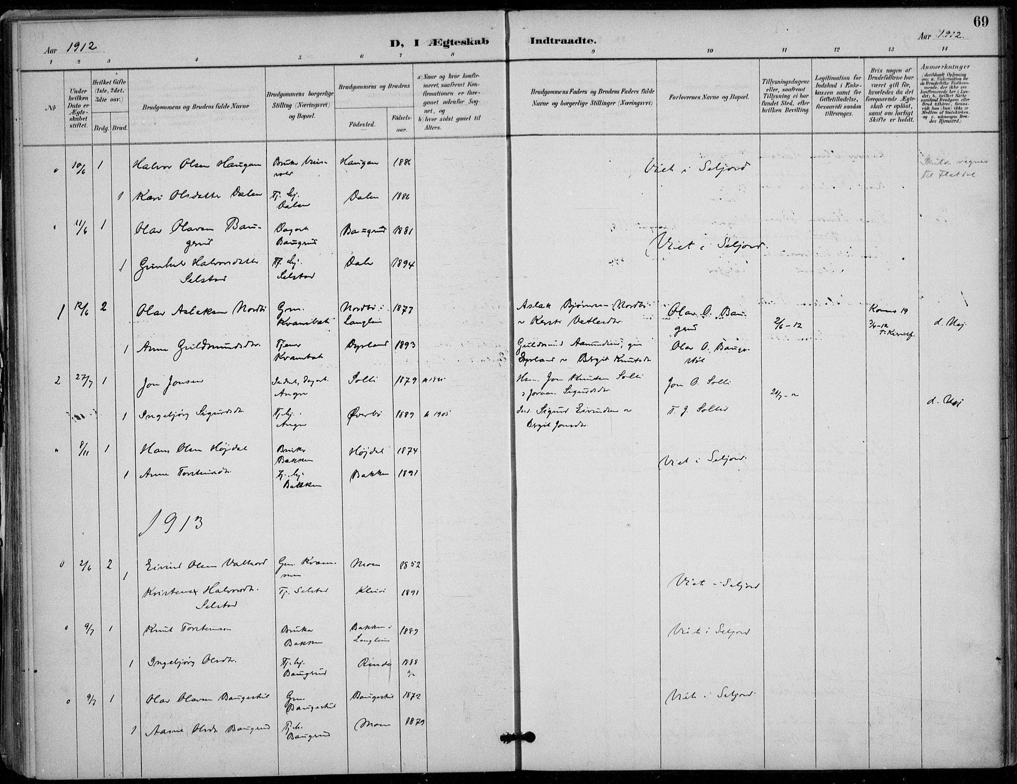 SAKO, Seljord kirkebøker, F/Fc/L0002: Ministerialbok nr. III 2, 1887-1920, s. 69
