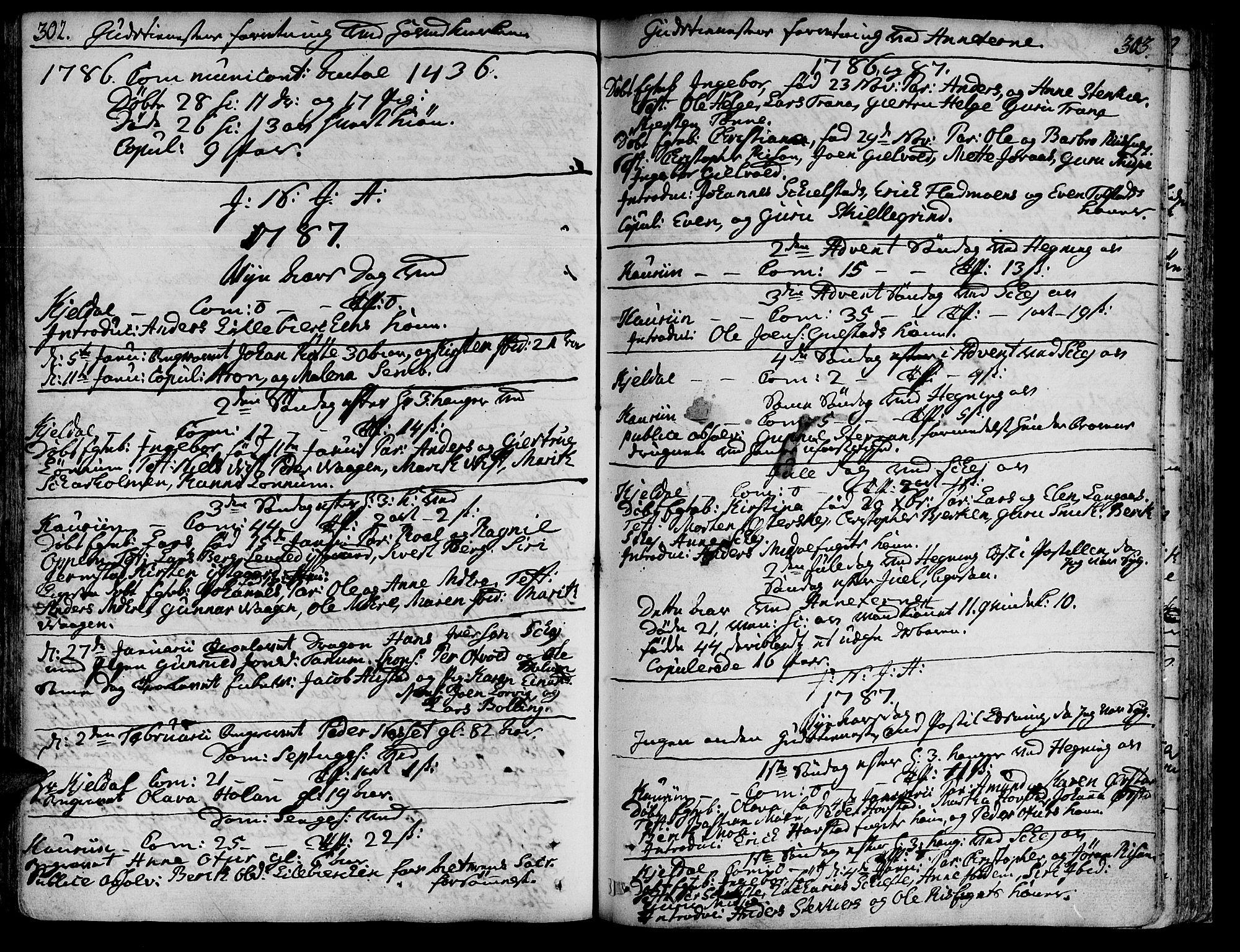 SAT, Ministerialprotokoller, klokkerbøker og fødselsregistre - Nord-Trøndelag, 735/L0331: Ministerialbok nr. 735A02, 1762-1794, s. 302-303