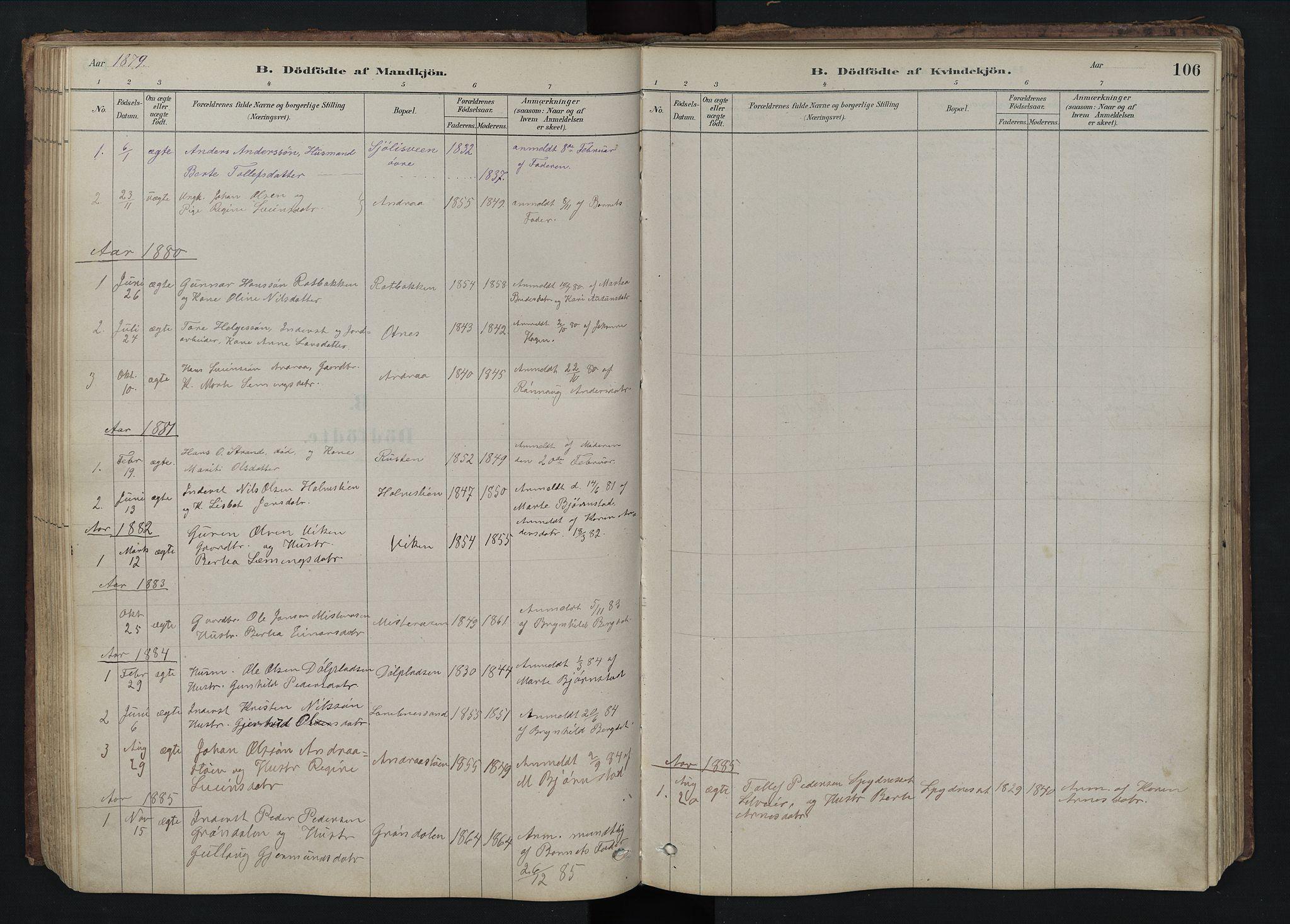 SAH, Rendalen prestekontor, H/Ha/Hab/L0009: Klokkerbok nr. 9, 1879-1902, s. 106