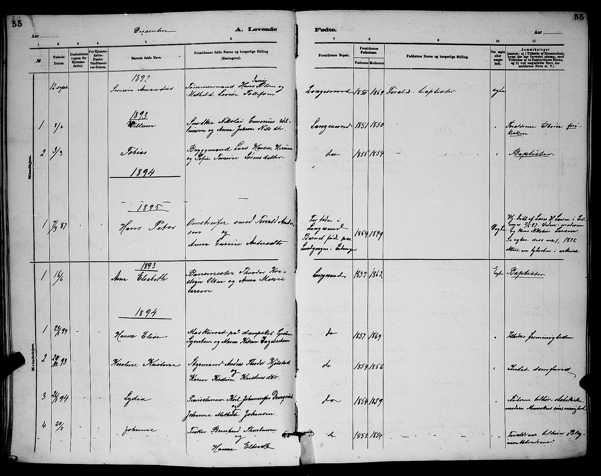 SAKO, Langesund kirkebøker, G/Ga/L0005: Klokkerbok nr. 5, 1884-1898, s. 55