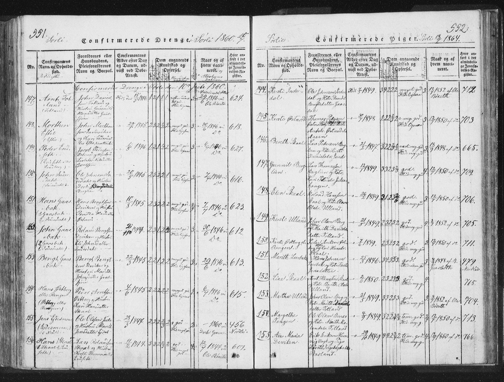 SAT, Ministerialprotokoller, klokkerbøker og fødselsregistre - Nord-Trøndelag, 755/L0491: Ministerialbok nr. 755A01 /2, 1817-1864, s. 551-552