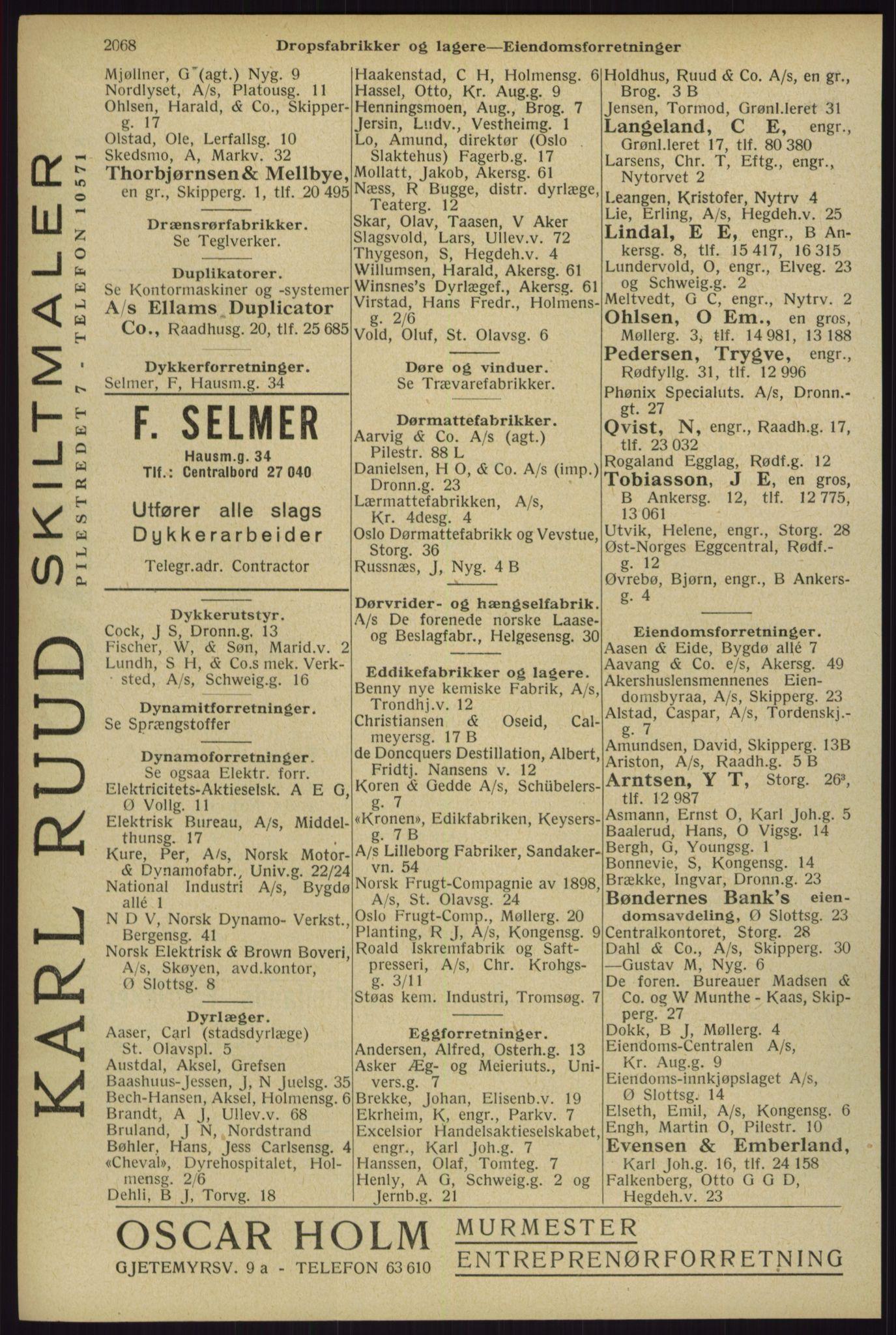 RA, Oslo adressebok (publikasjon)*, 1929, s. 2068
