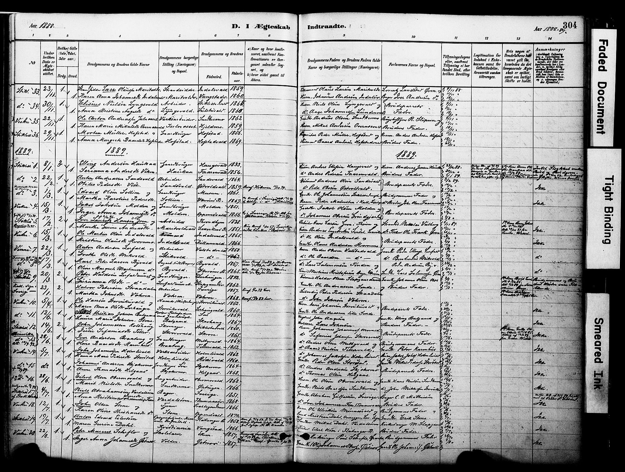SAT, Ministerialprotokoller, klokkerbøker og fødselsregistre - Nord-Trøndelag, 723/L0244: Ministerialbok nr. 723A13, 1881-1899, s. 304