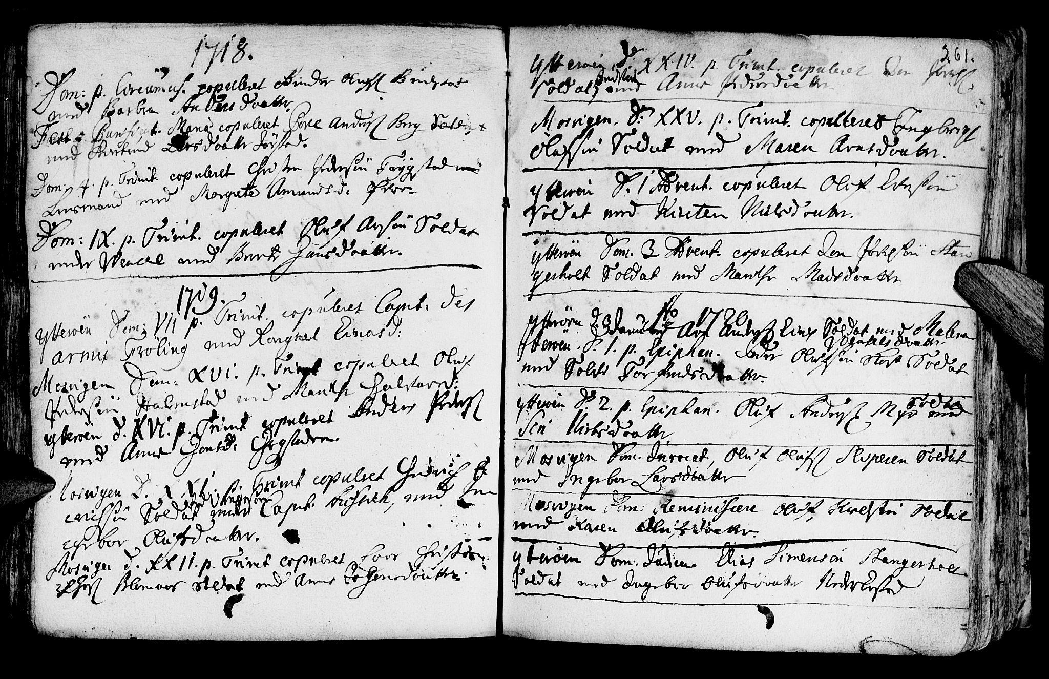 SAT, Ministerialprotokoller, klokkerbøker og fødselsregistre - Nord-Trøndelag, 722/L0215: Ministerialbok nr. 722A02, 1718-1755, s. 261