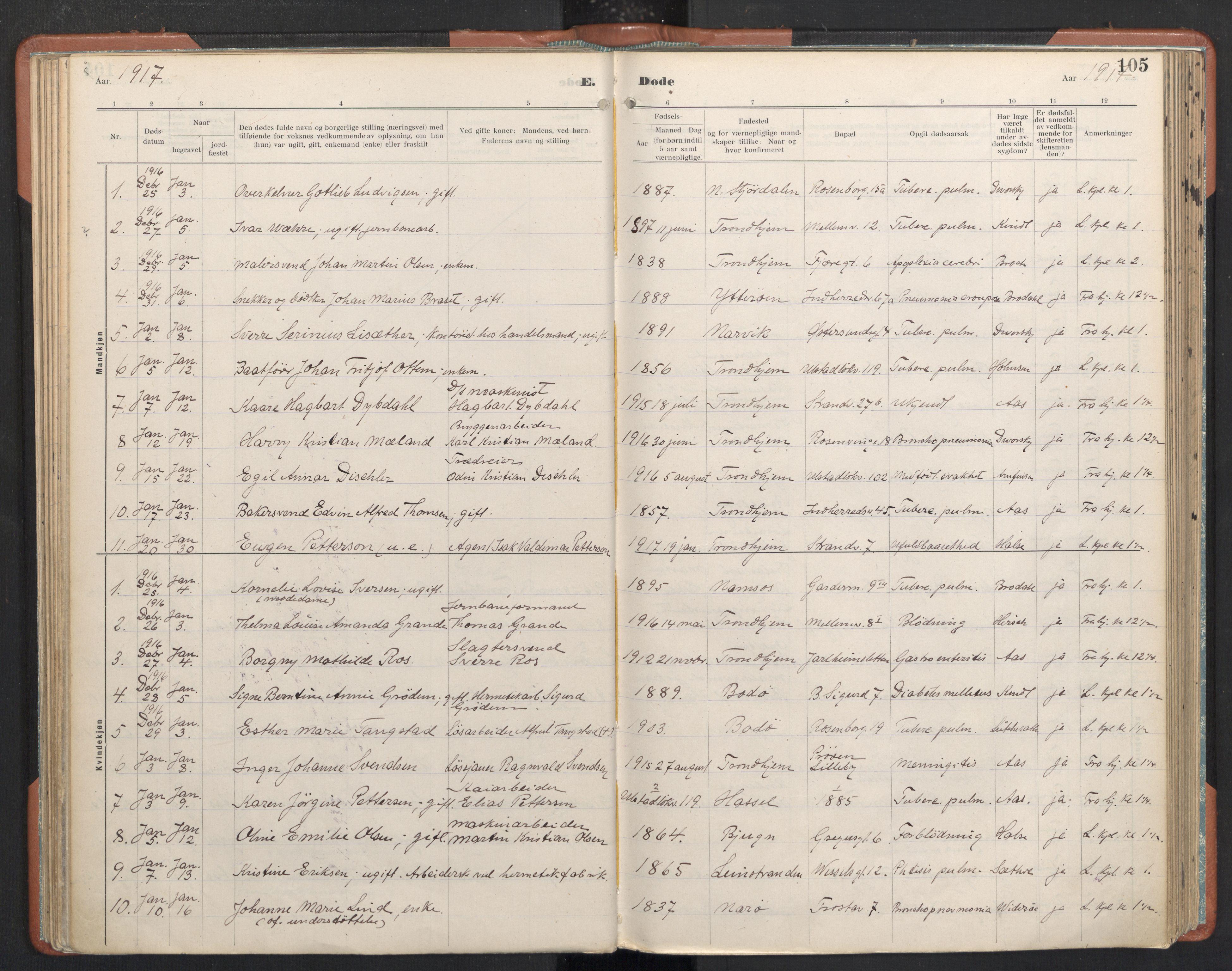 SAT, Ministerialprotokoller, klokkerbøker og fødselsregistre - Sør-Trøndelag, 605/L0245: Ministerialbok nr. 605A07, 1916-1938, s. 105