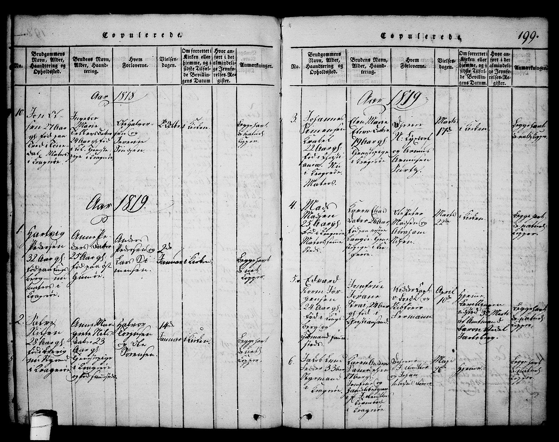 SAKO, Kragerø kirkebøker, G/Ga/L0002: Klokkerbok nr. 2, 1814-1831, s. 199