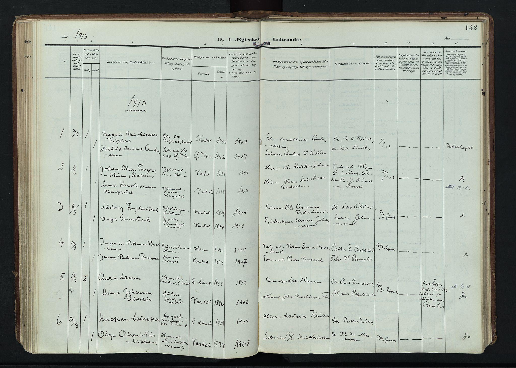 SAH, Vardal prestekontor, H/Ha/Haa/L0020: Ministerialbok nr. 20, 1907-1921, s. 142