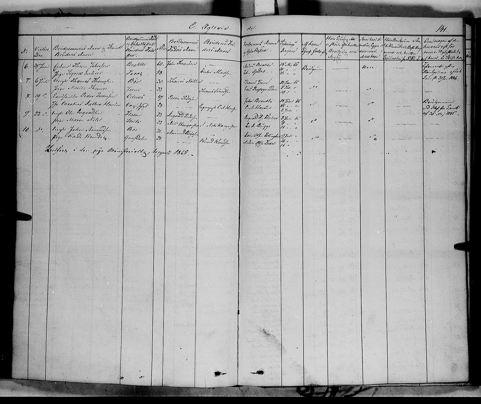 SAH, Vang prestekontor, Valdres, Ministerialbok nr. 6, 1846-1864, s. 141