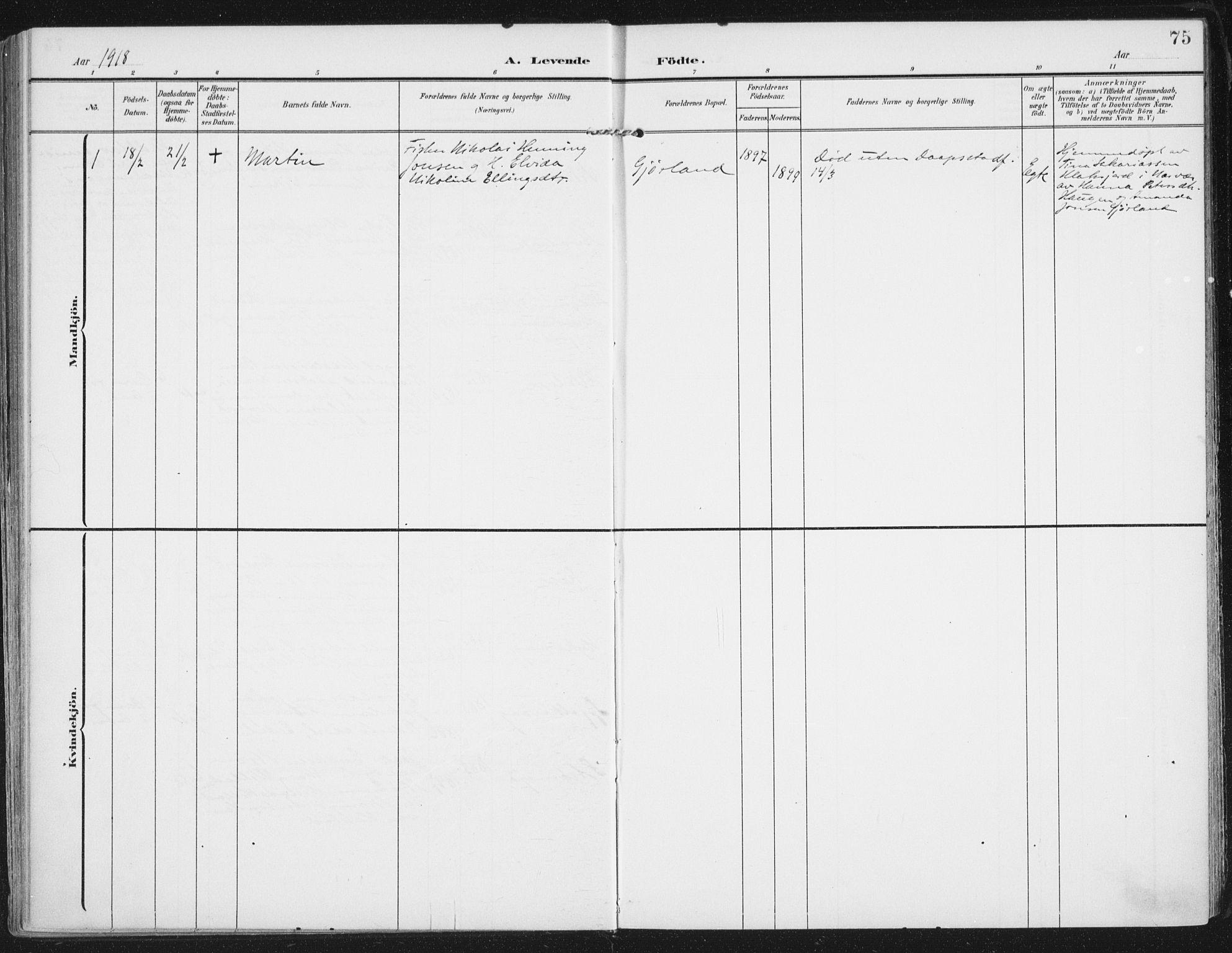 SAT, Ministerialprotokoller, klokkerbøker og fødselsregistre - Nordland, 892/L1321: Ministerialbok nr. 892A02, 1902-1918, s. 75
