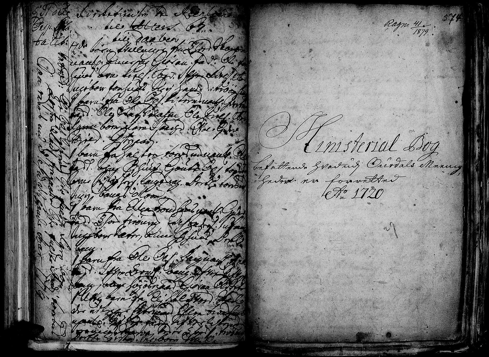 SAH, Aurdal prestekontor, Ministerialbok nr. 1-3, 1692-1730, s. 574