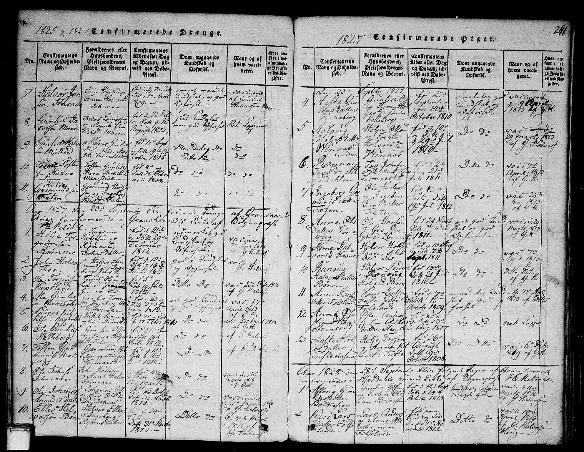 SAKO, Gransherad kirkebøker, G/Ga/L0001: Klokkerbok nr. I 1, 1815-1842, s. 241