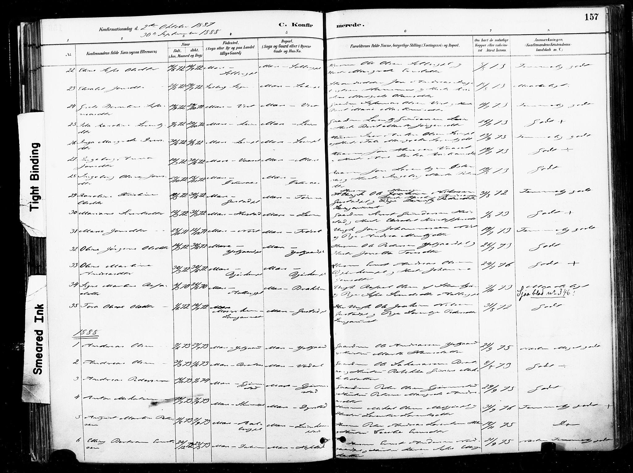 SAT, Ministerialprotokoller, klokkerbøker og fødselsregistre - Nord-Trøndelag, 735/L0351: Ministerialbok nr. 735A10, 1884-1908, s. 157