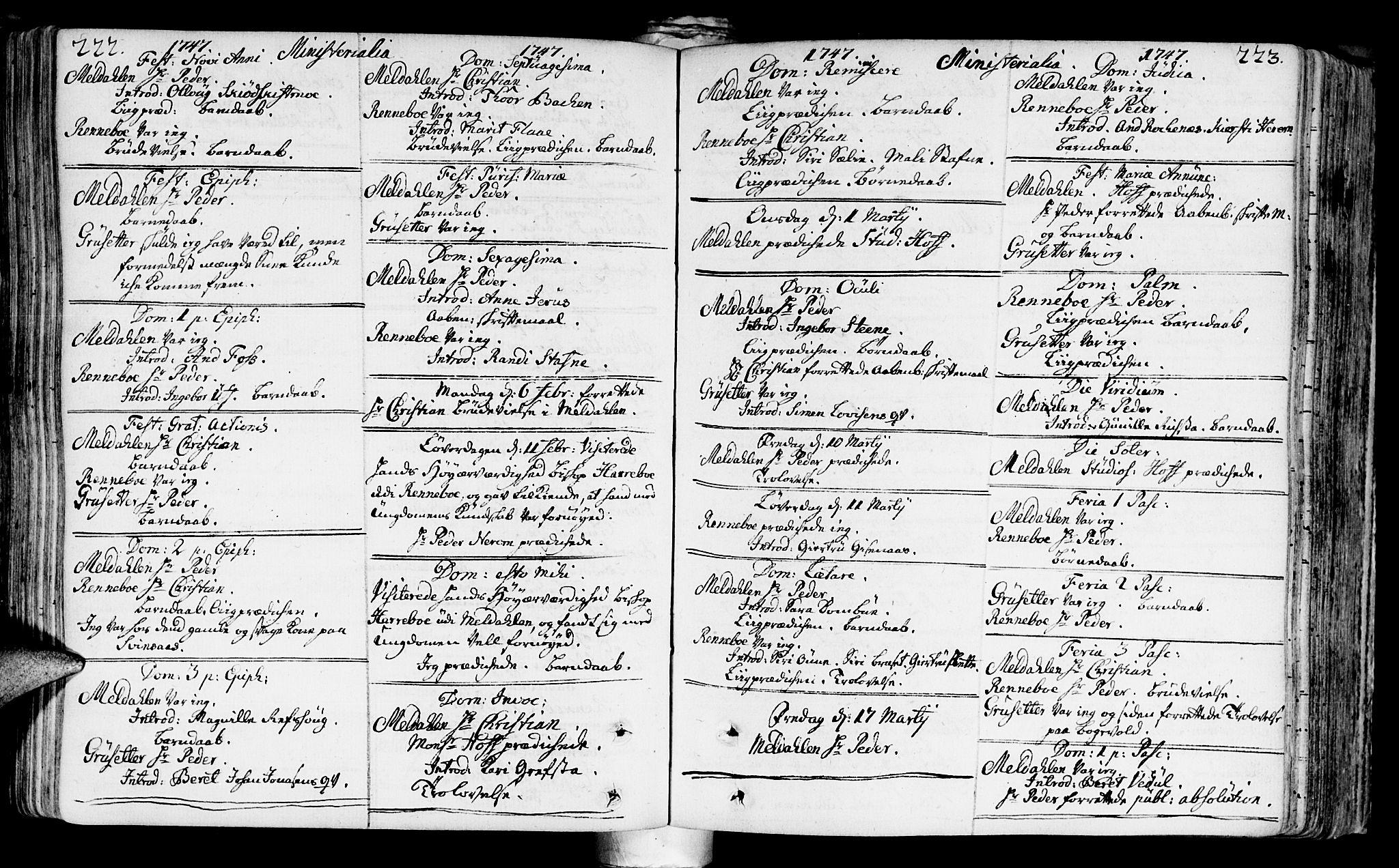 SAT, Ministerialprotokoller, klokkerbøker og fødselsregistre - Sør-Trøndelag, 672/L0850: Ministerialbok nr. 672A03, 1725-1751, s. 222-223