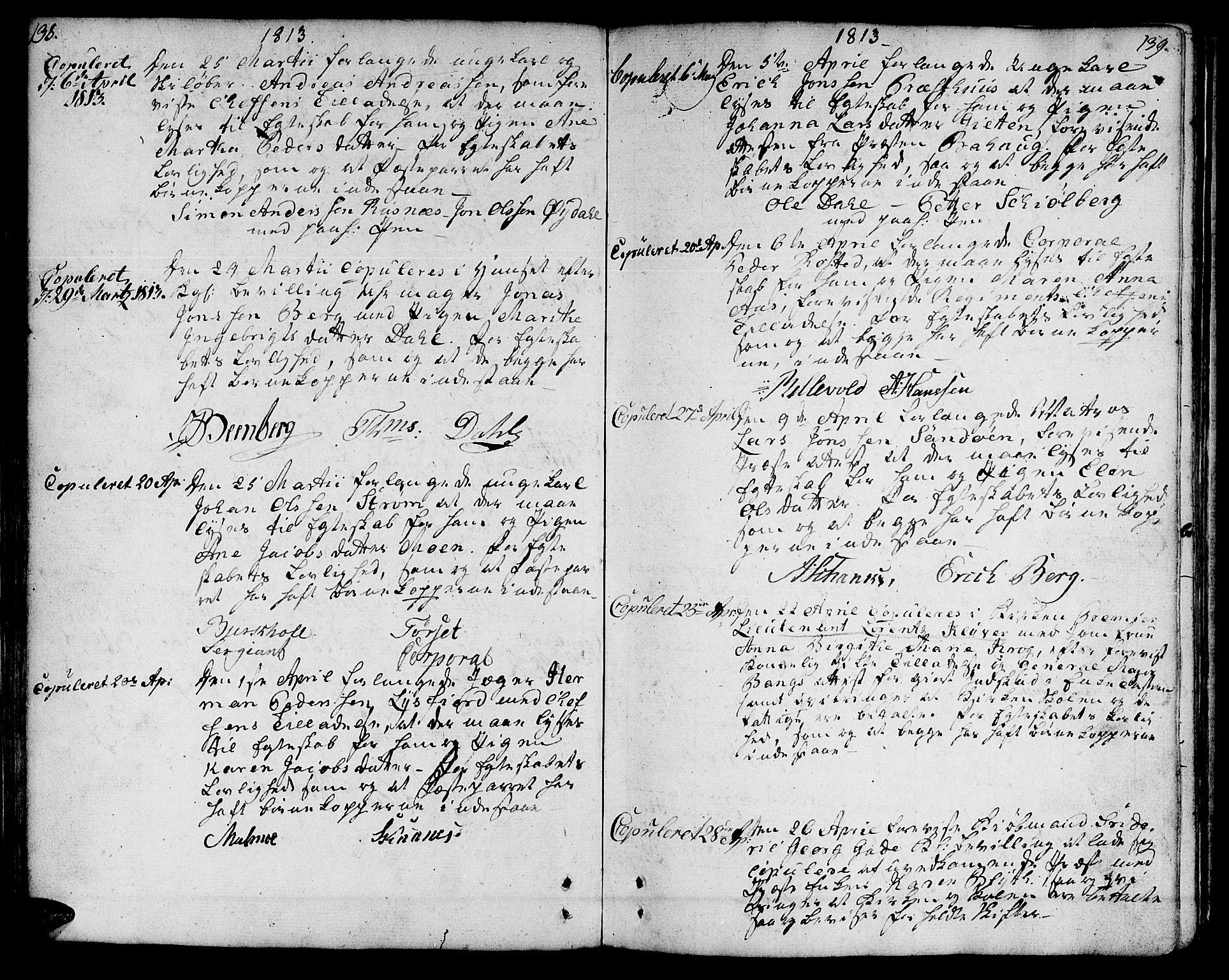 SAT, Ministerialprotokoller, klokkerbøker og fødselsregistre - Sør-Trøndelag, 601/L0042: Ministerialbok nr. 601A10, 1802-1830, s. 138-139