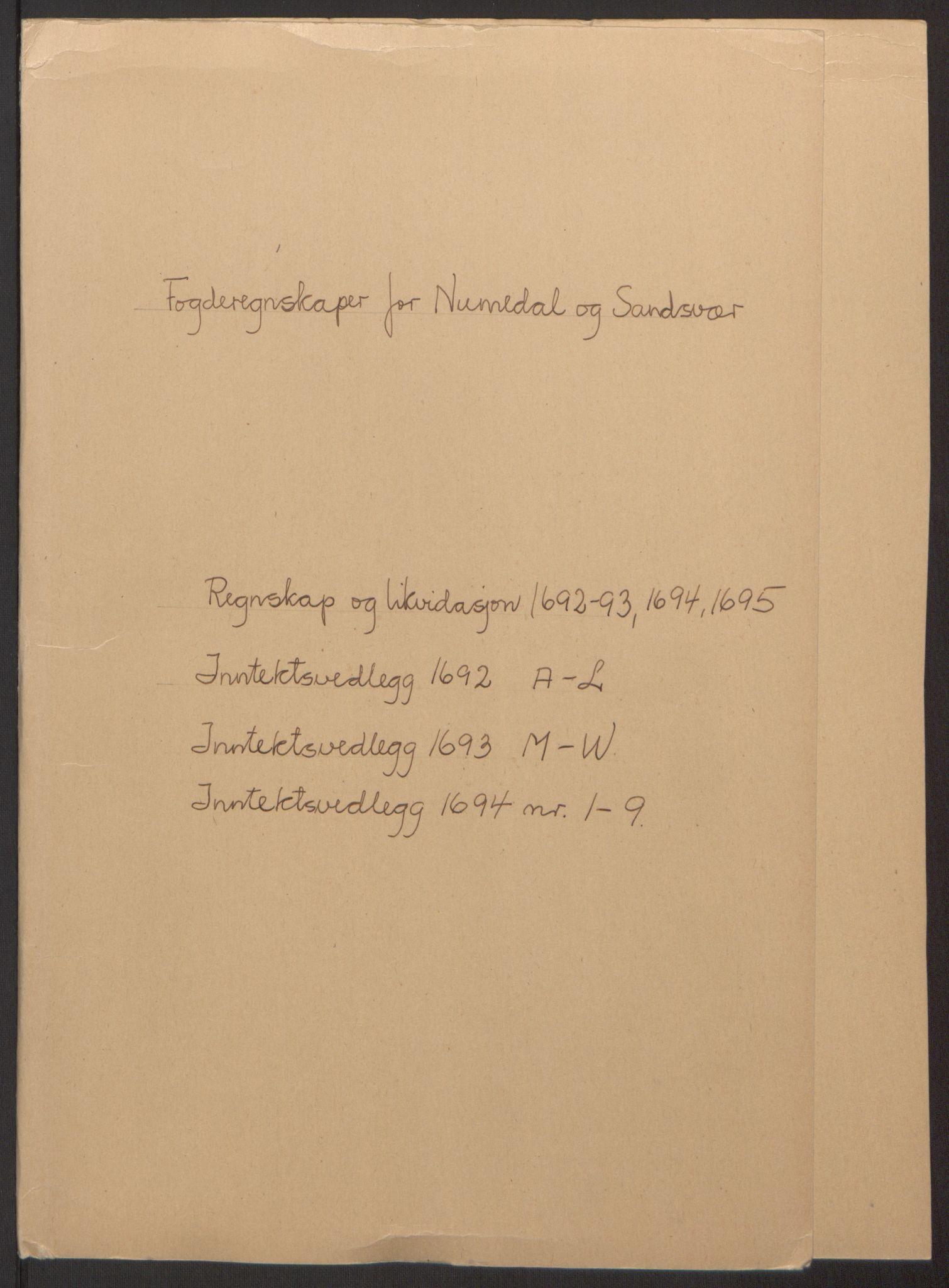 RA, Rentekammeret inntil 1814, Reviderte regnskaper, Fogderegnskap, R24/L1575: Fogderegnskap Numedal og Sandsvær, 1692-1695, s. 6