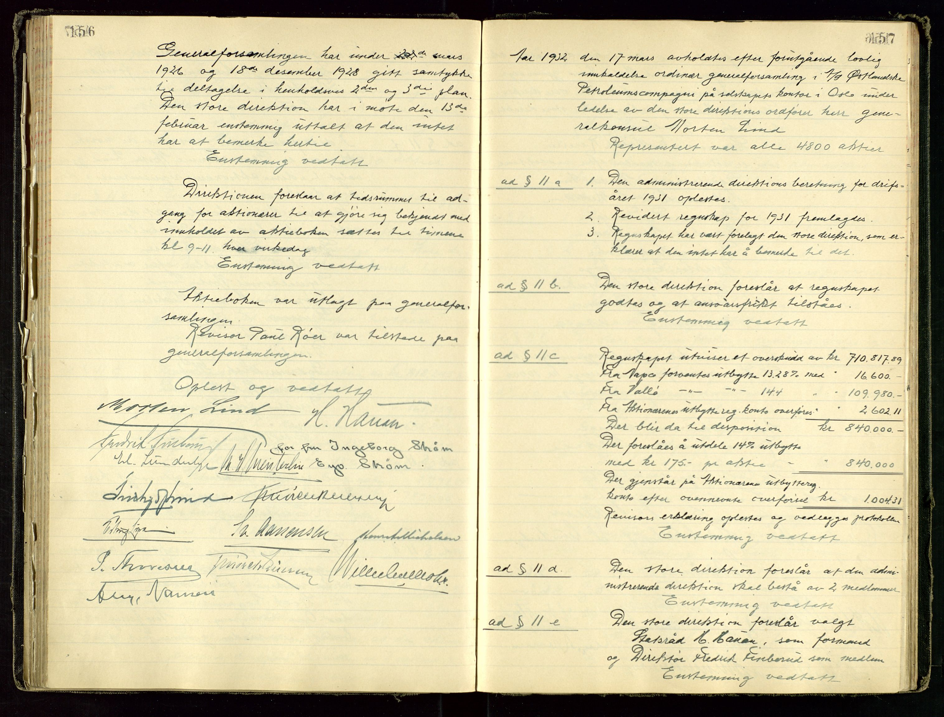 SAST, PA 1534 - Østlandske Petroleumscompagni A/S, A/Aa/L0001: Generalforsamlinger og direksjonsprotokoller., 1892-1960, s. 156-157