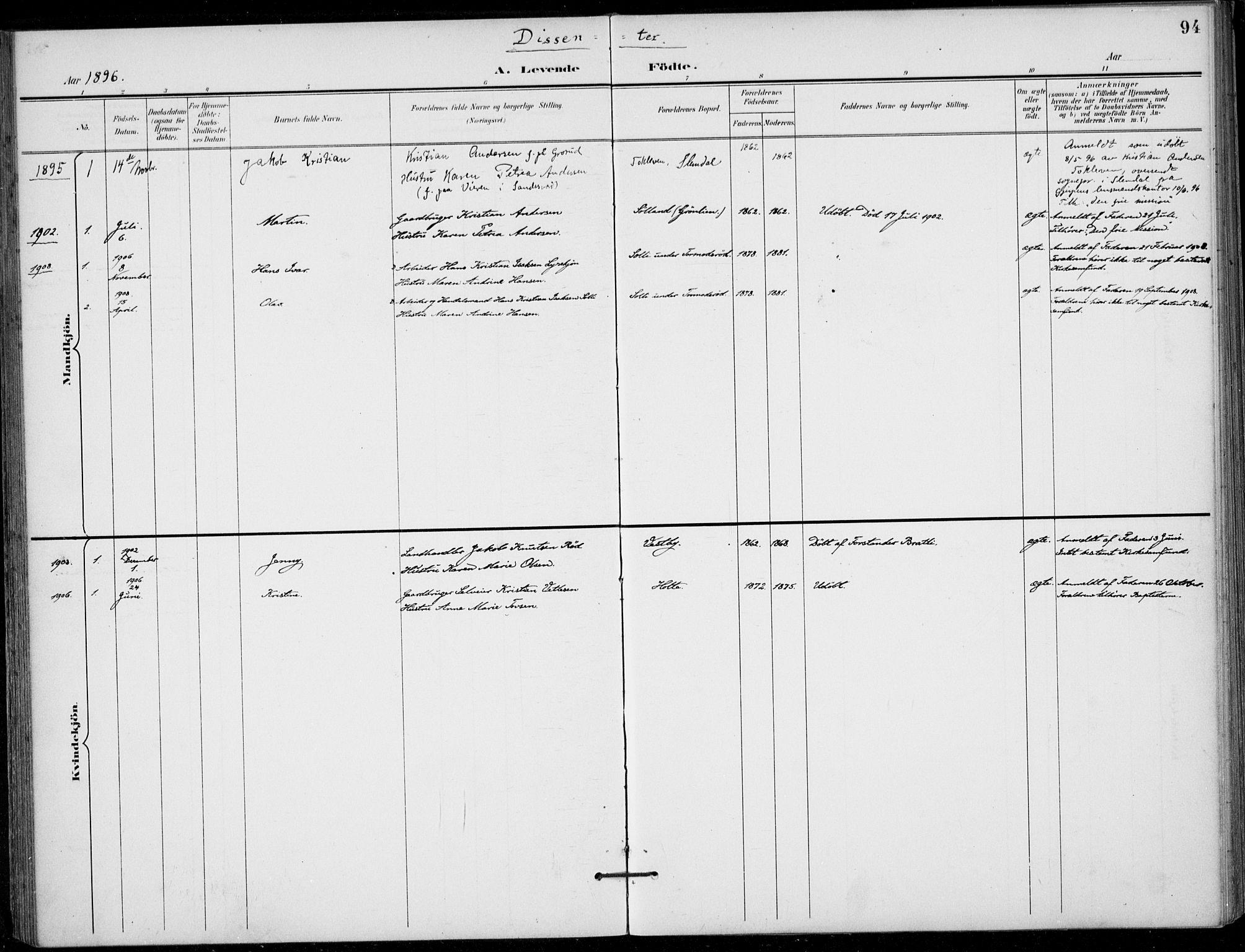 SAKO, Siljan kirkebøker, F/Fa/L0003: Ministerialbok nr. 3, 1896-1910, s. 94