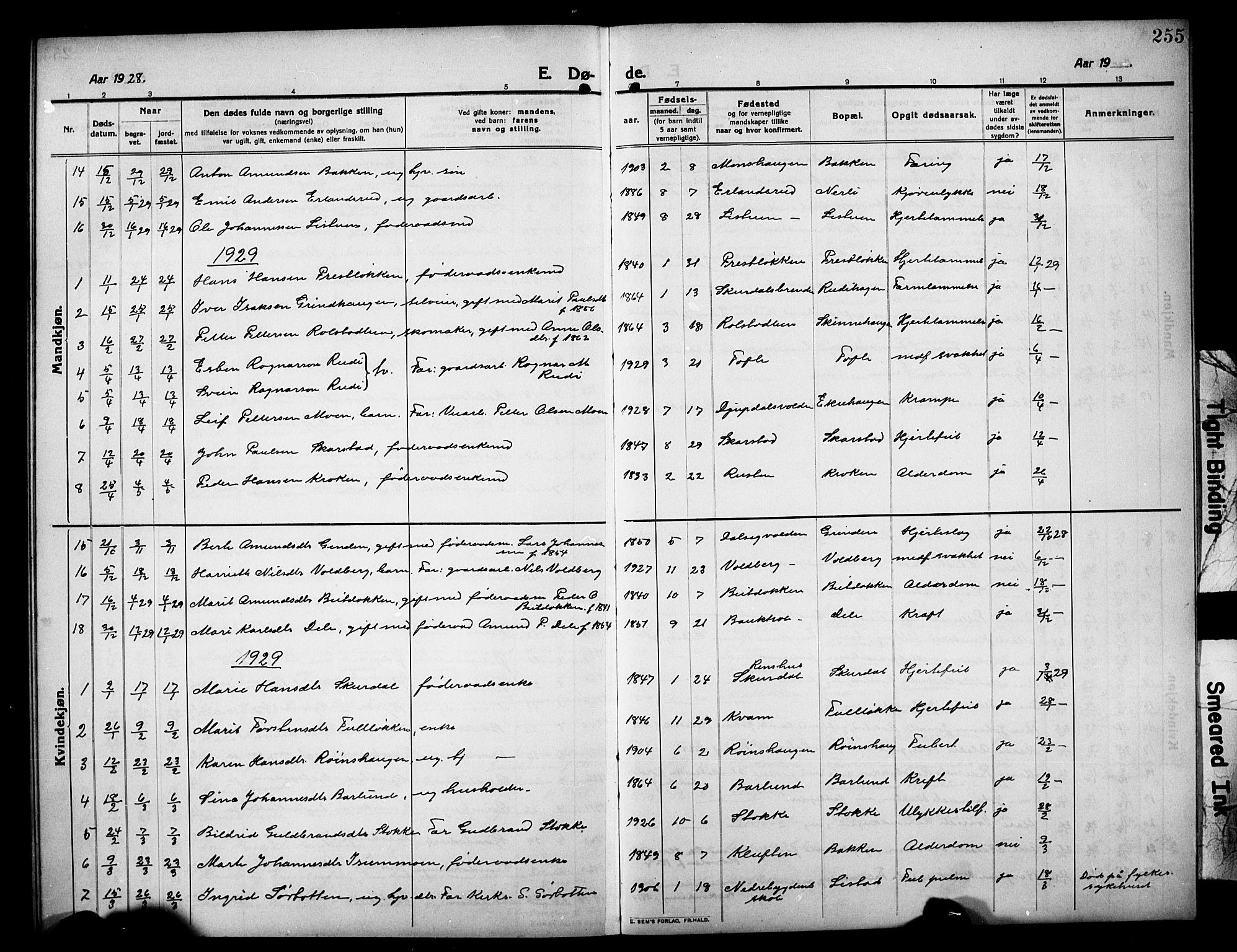 SAH, Sør-Fron prestekontor, H/Ha/Hab/L0005: Klokkerbok nr. 5, 1912-1930, s. 255