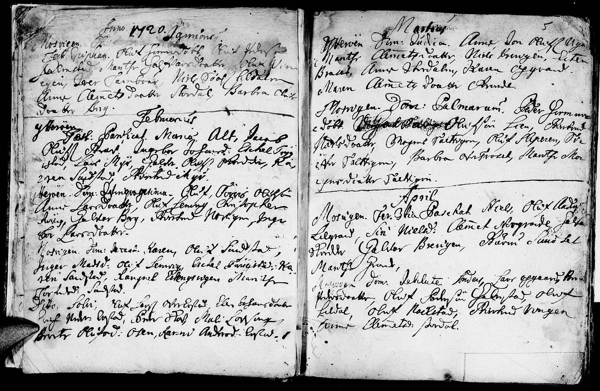 SAT, Ministerialprotokoller, klokkerbøker og fødselsregistre - Nord-Trøndelag, 722/L0215: Ministerialbok nr. 722A02, 1718-1755, s. 5