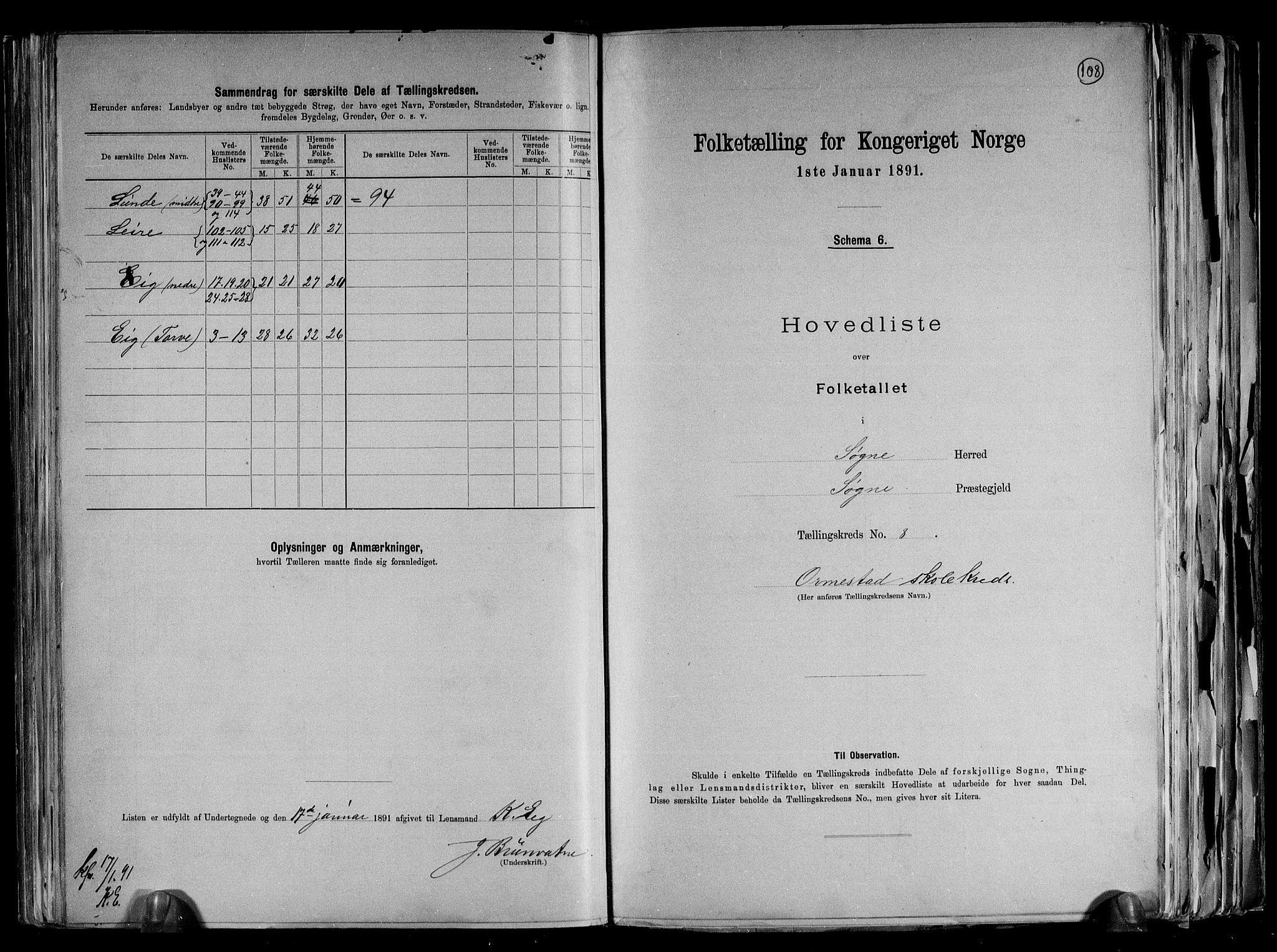 RA, Folketelling 1891 for 1018 Søgne herred, 1891, s. 24