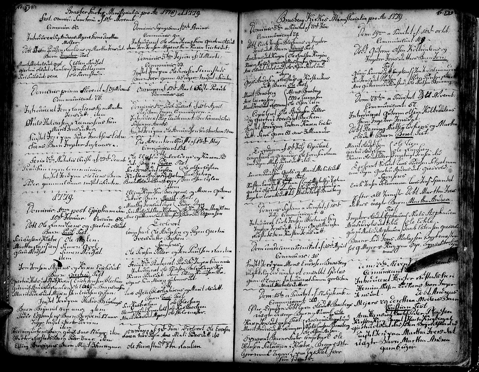 SAT, Ministerialprotokoller, klokkerbøker og fødselsregistre - Sør-Trøndelag, 606/L0278: Ministerialbok nr. 606A01 /4, 1727-1780, s. 598-599
