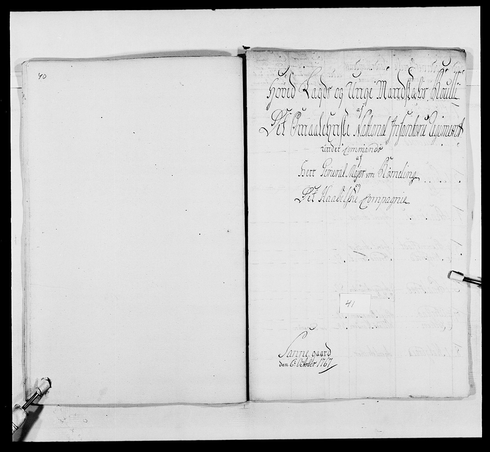 RA, Kommanderende general (KG I) med Det norske krigsdirektorium, E/Ea/L0496: 1. Smålenske regiment, 1765-1767, s. 786