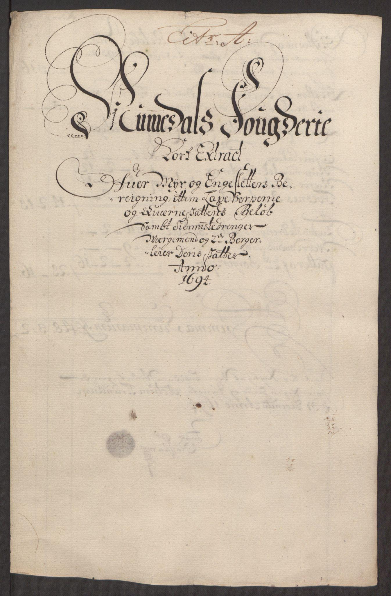 RA, Rentekammeret inntil 1814, Reviderte regnskaper, Fogderegnskap, R64/L4424: Fogderegnskap Namdal, 1692-1695, s. 341
