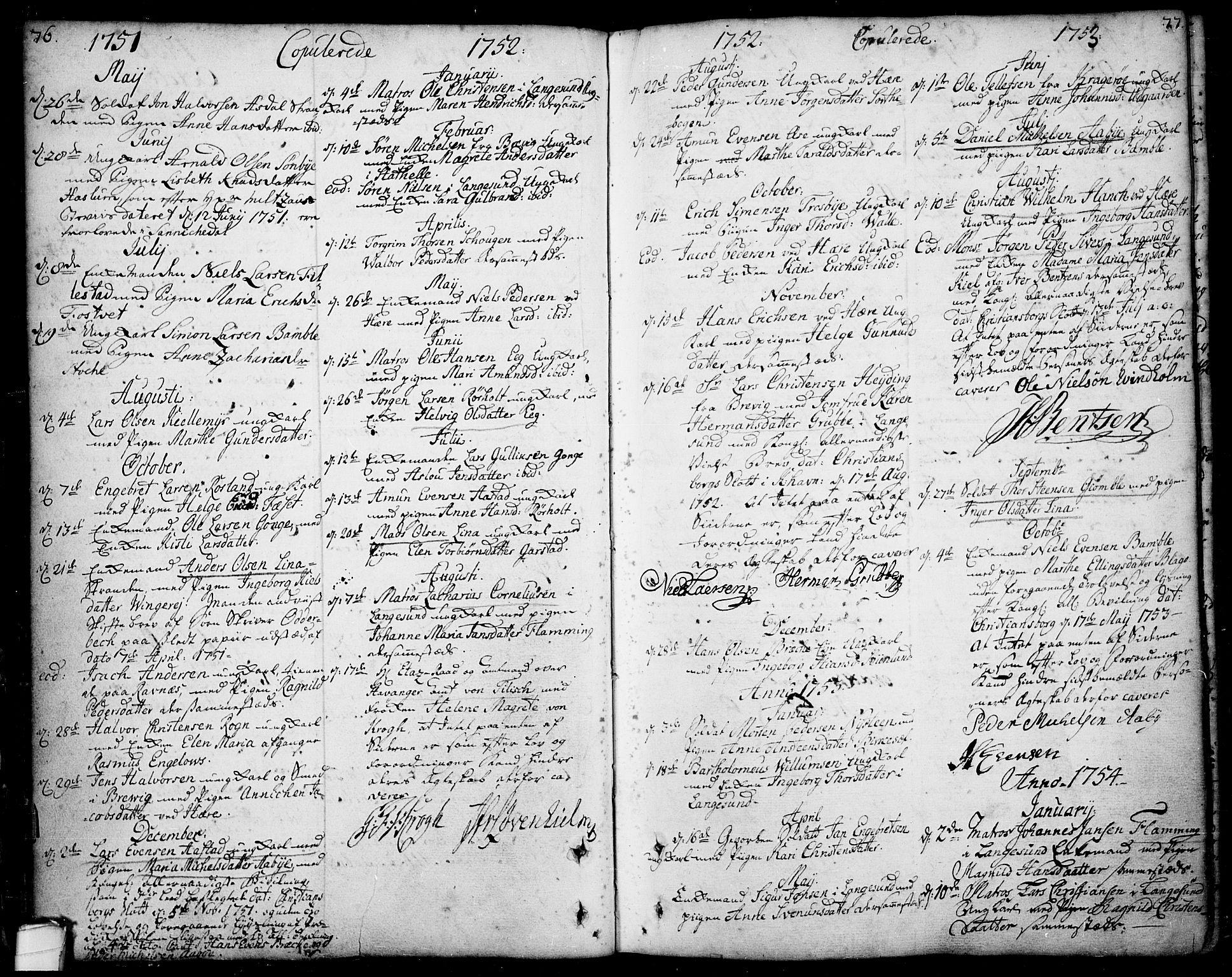 SAKO, Bamble kirkebøker, F/Fa/L0001: Ministerialbok nr. I 1, 1702-1774, s. 76-77