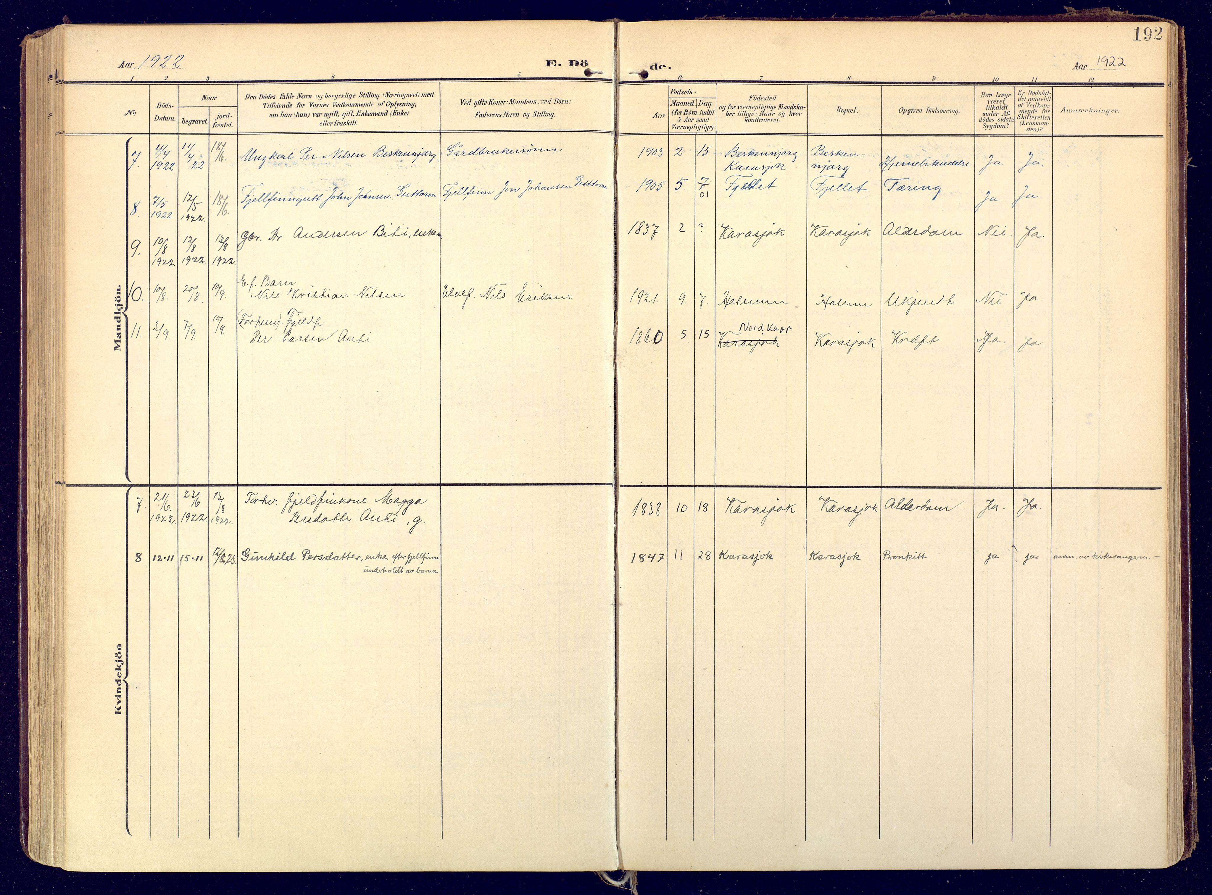 SATØ, Karasjok sokneprestkontor, H/Ha: Ministerialbok nr. 3, 1907-1926, s. 192