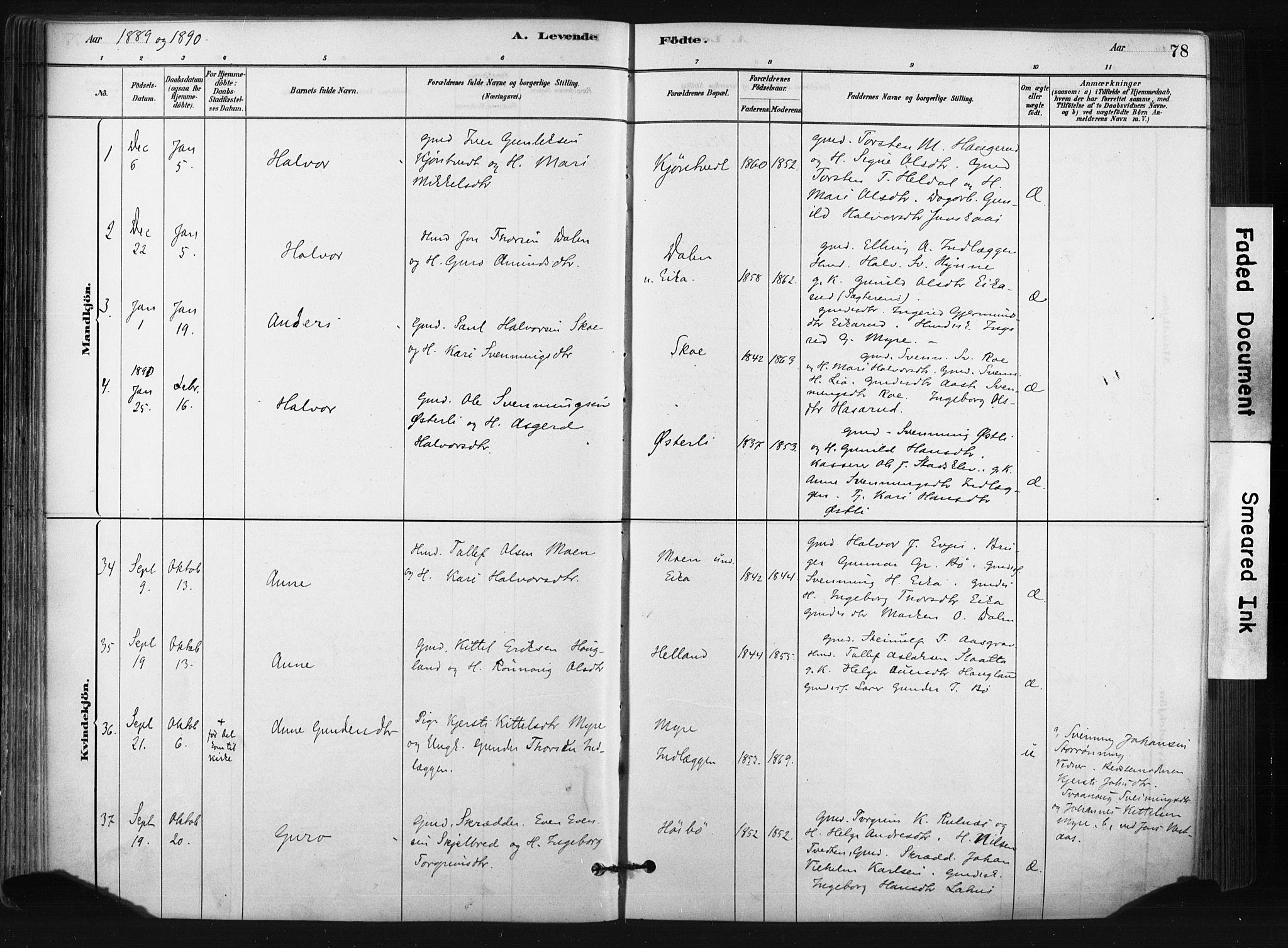 SAKO, Bø kirkebøker, F/Fa/L0010: Ministerialbok nr. 10, 1880-1892, s. 78
