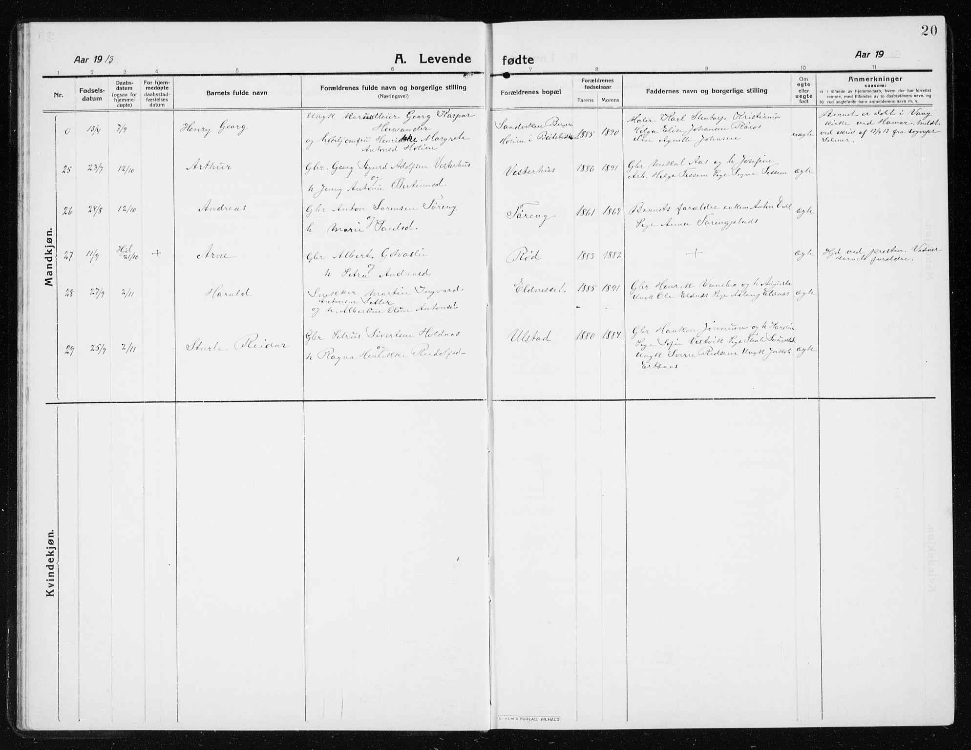 SAT, Ministerialprotokoller, klokkerbøker og fødselsregistre - Nord-Trøndelag, 741/L0402: Klokkerbok nr. 741C03, 1911-1926, s. 20