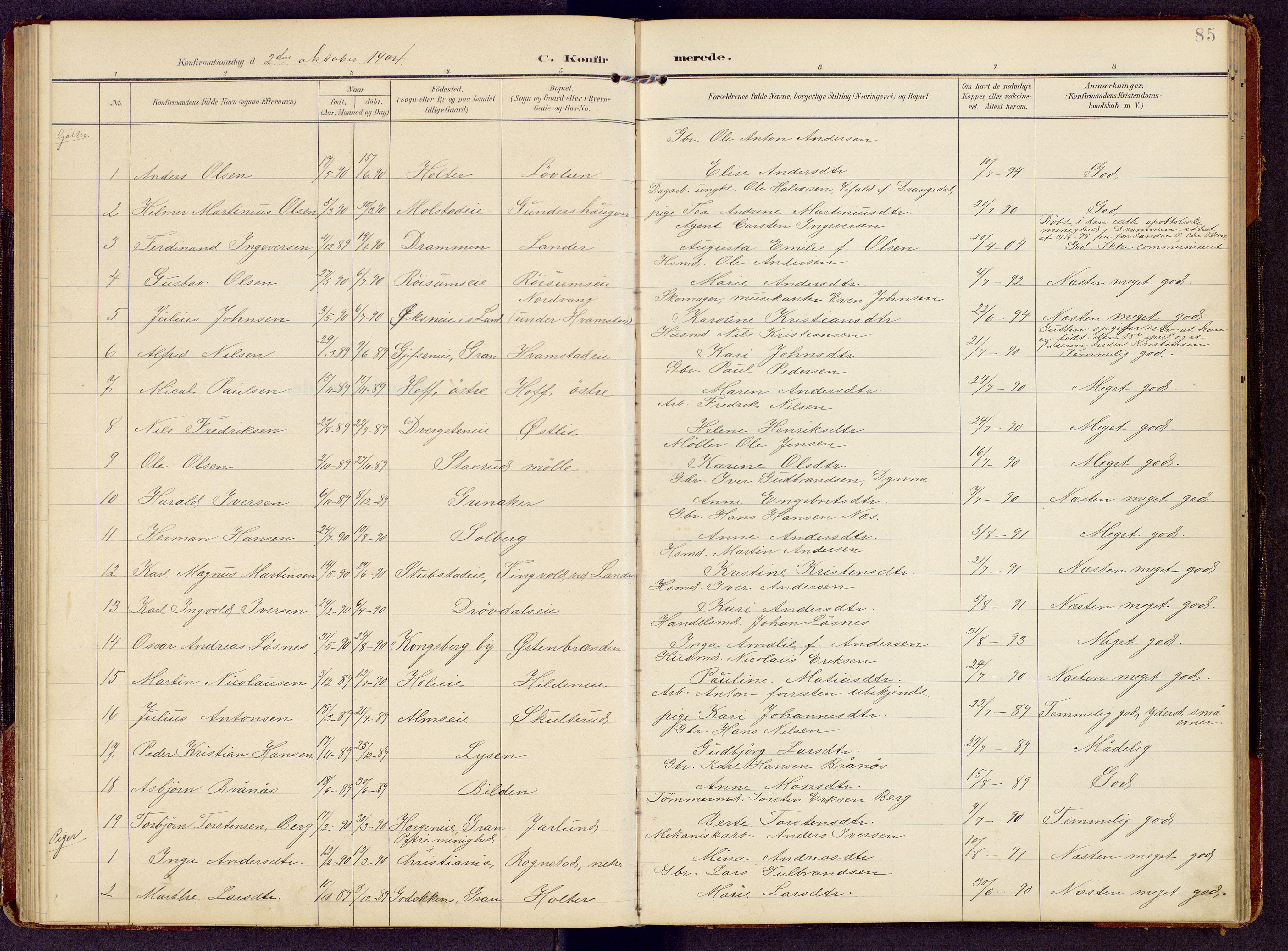 SAH, Brandbu prestekontor, Klokkerbok nr. 9, 1903-1916, s. 85