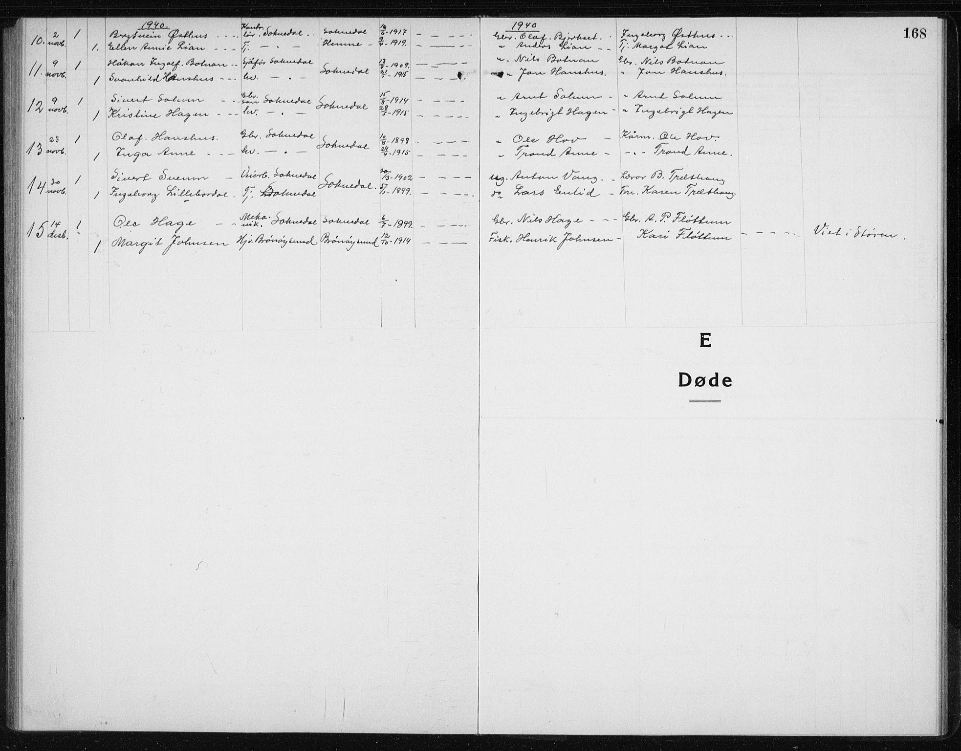 SAT, Ministerialprotokoller, klokkerbøker og fødselsregistre - Sør-Trøndelag, 689/L1045: Klokkerbok nr. 689C04, 1923-1940, s. 168