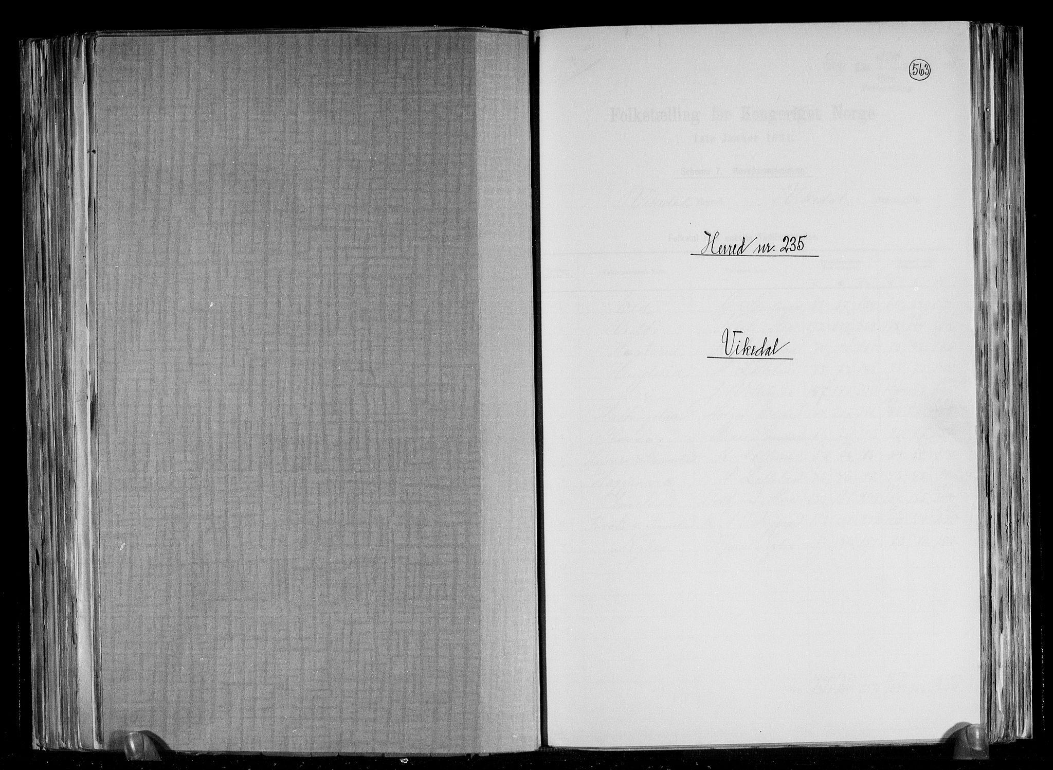 RA, Folketelling 1891 for 1157 Vikedal herred, 1891, s. 1