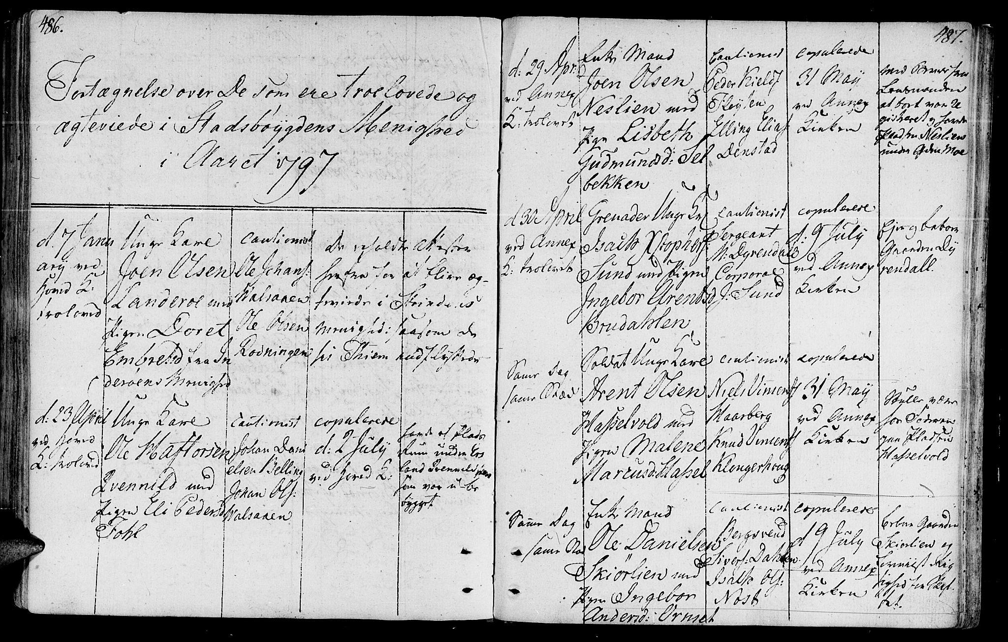 SAT, Ministerialprotokoller, klokkerbøker og fødselsregistre - Sør-Trøndelag, 646/L0606: Ministerialbok nr. 646A04, 1791-1805, s. 486-487