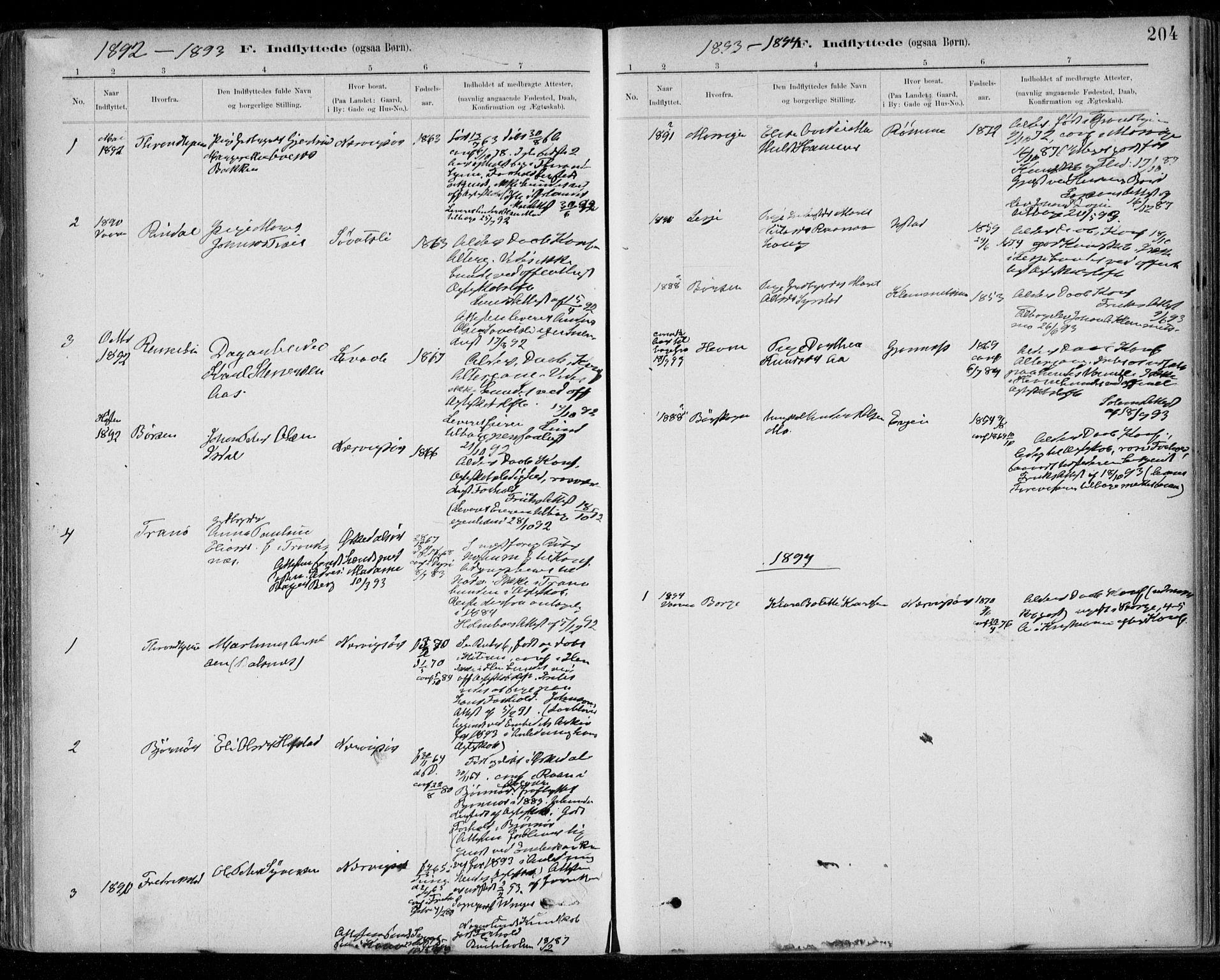 SAT, Ministerialprotokoller, klokkerbøker og fødselsregistre - Sør-Trøndelag, 668/L0810: Ministerialbok nr. 668A10, 1881-1894, s. 204